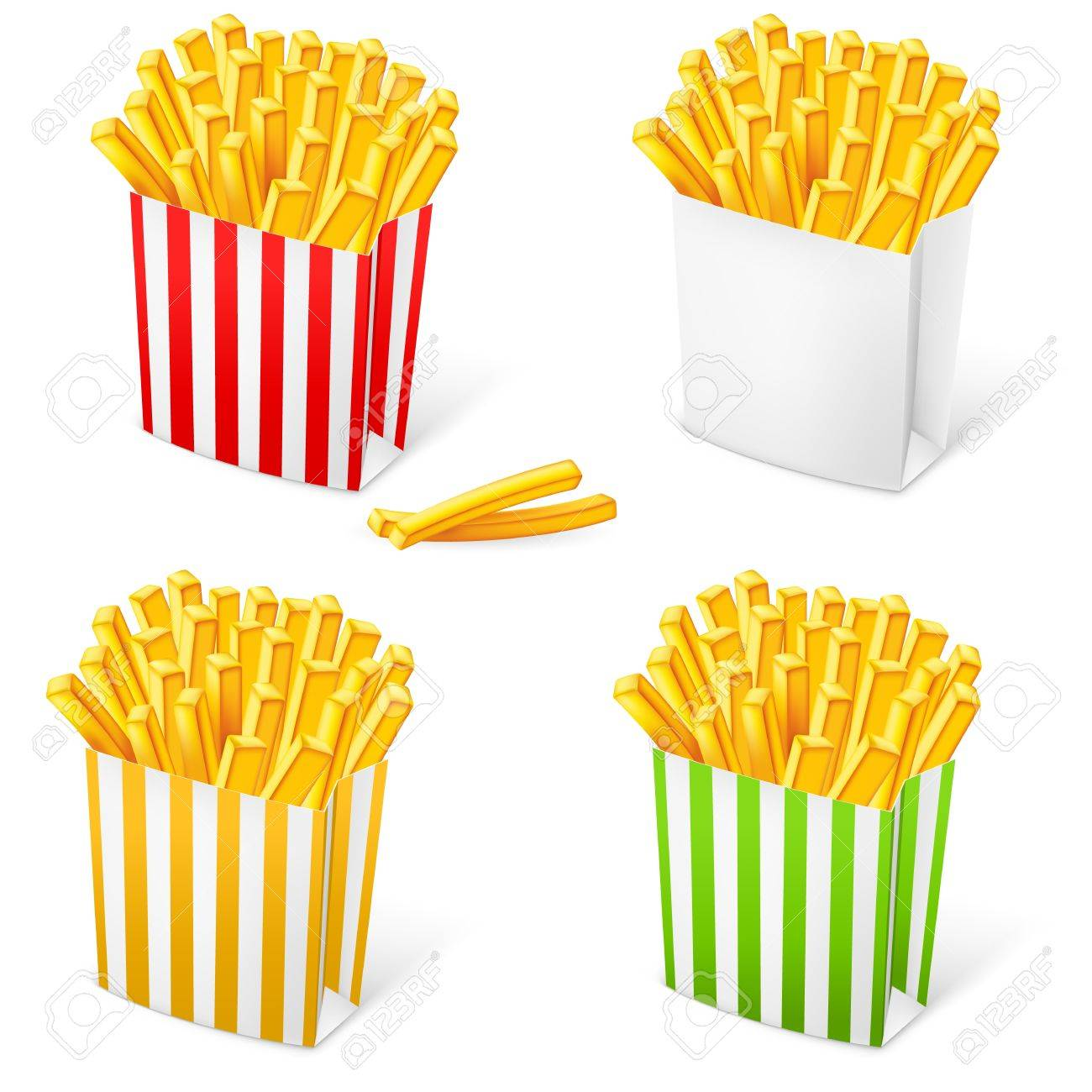 French fries in a multi-colored striped packaging. Illustration on white background Stock Vector - 13082638