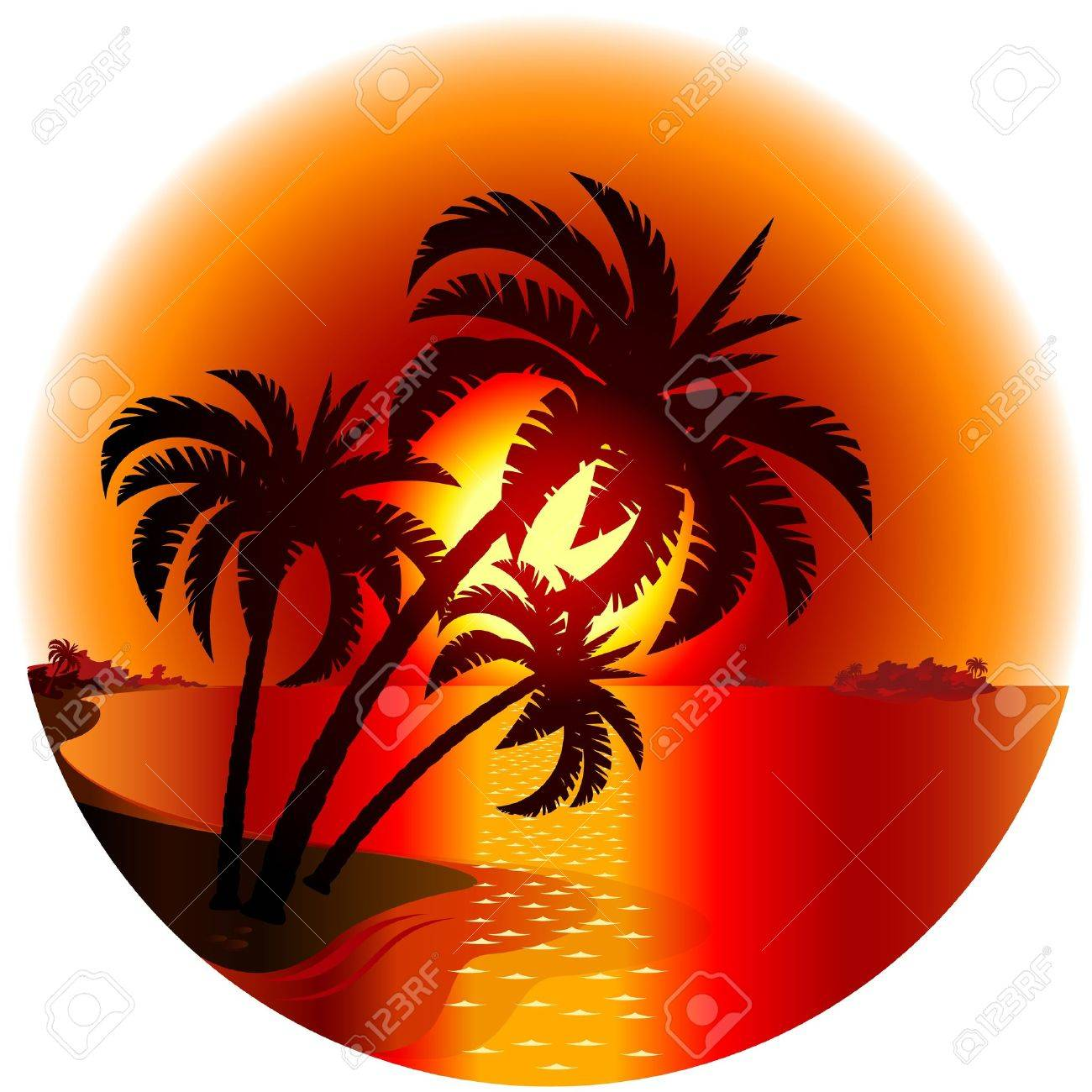 Sunset on a tropical island. Illustration on white background Stock Vector - 13180578