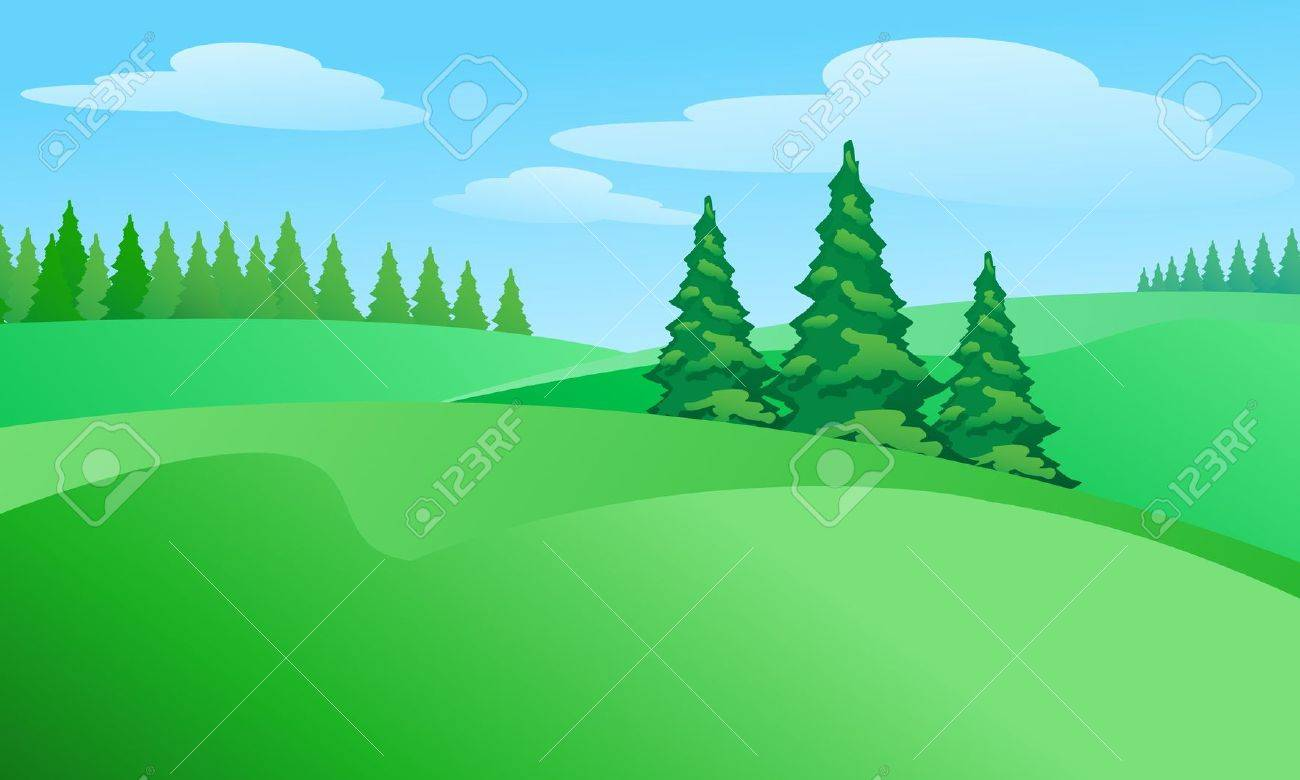 Field landscape with trees. Illustration for design Stock Vector - 13320926