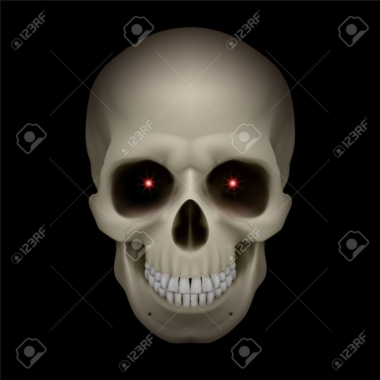 An illustration of a skull with red eyes on black Stock Vector - 13329165
