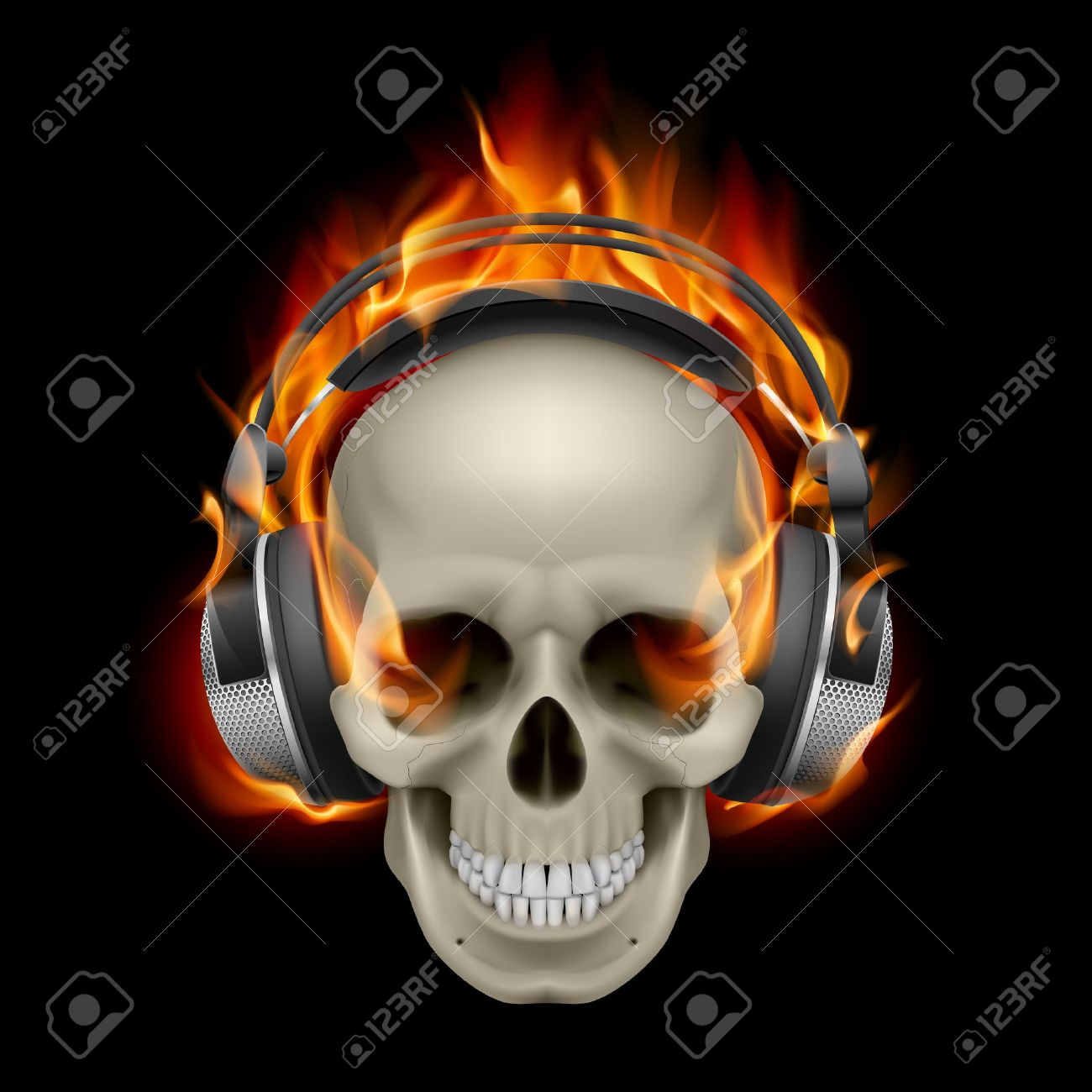 Cool Illustration of Flaming Skull Wearing Headphones Stock Vector - 13329175