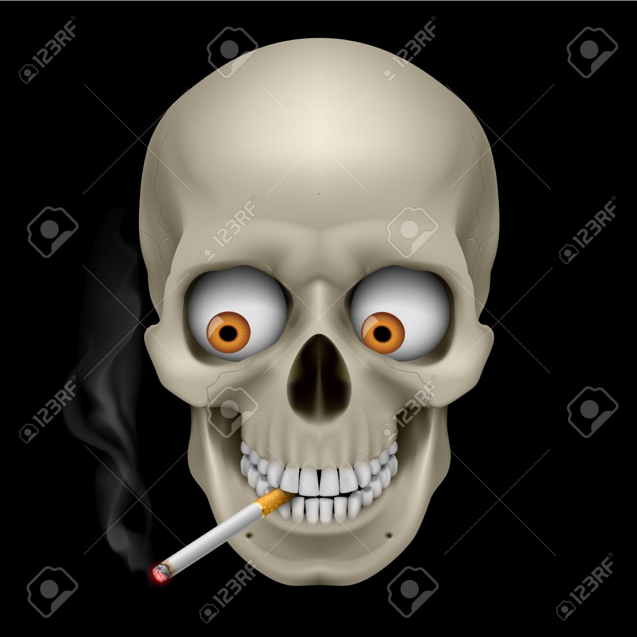 Human Skull with eyes and cigarette. Illustration on black background Stock Vector - 13374036