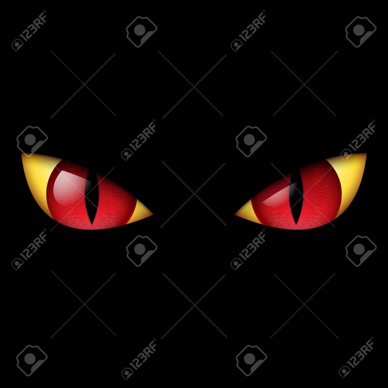 evil red eye illustration on black background royalty free