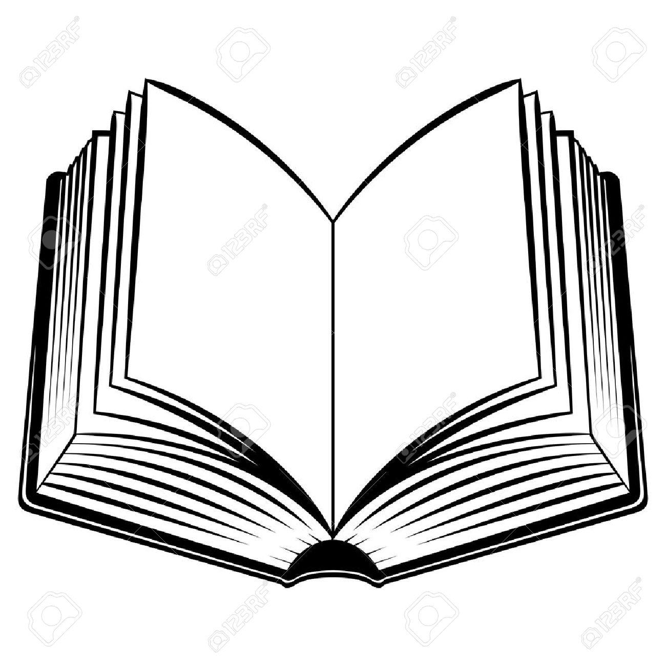 Libro Abierto Ilustración En Blanco Y Negro Para El Diseño Ilustraciones Vectoriales Clip Art Vectorizado Libre De Derechos Image 13776636