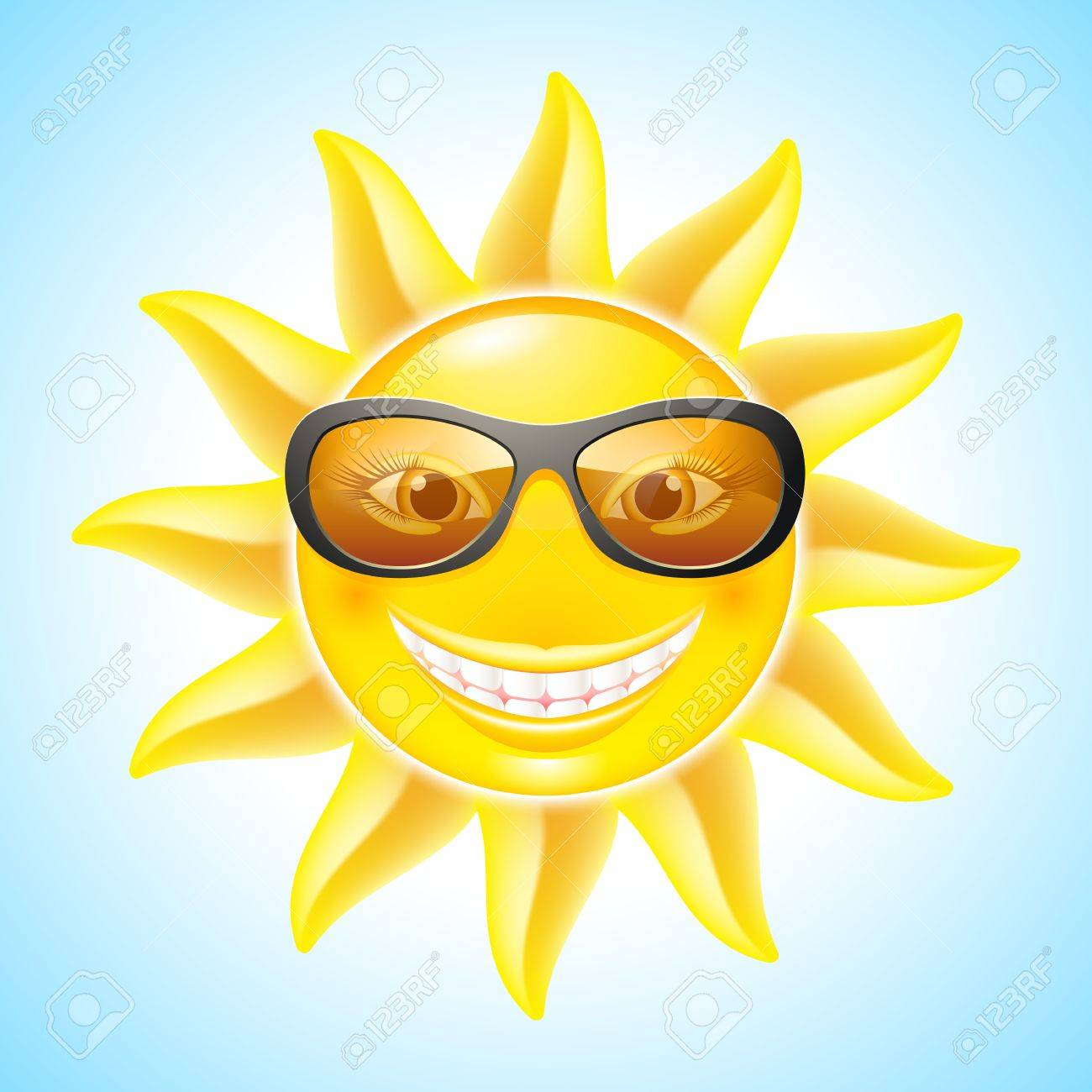 Smiling sun with sunglasses - Cool Smiling Sun With Sunglasses Cartoon Character For Design Stock Vector 13979492