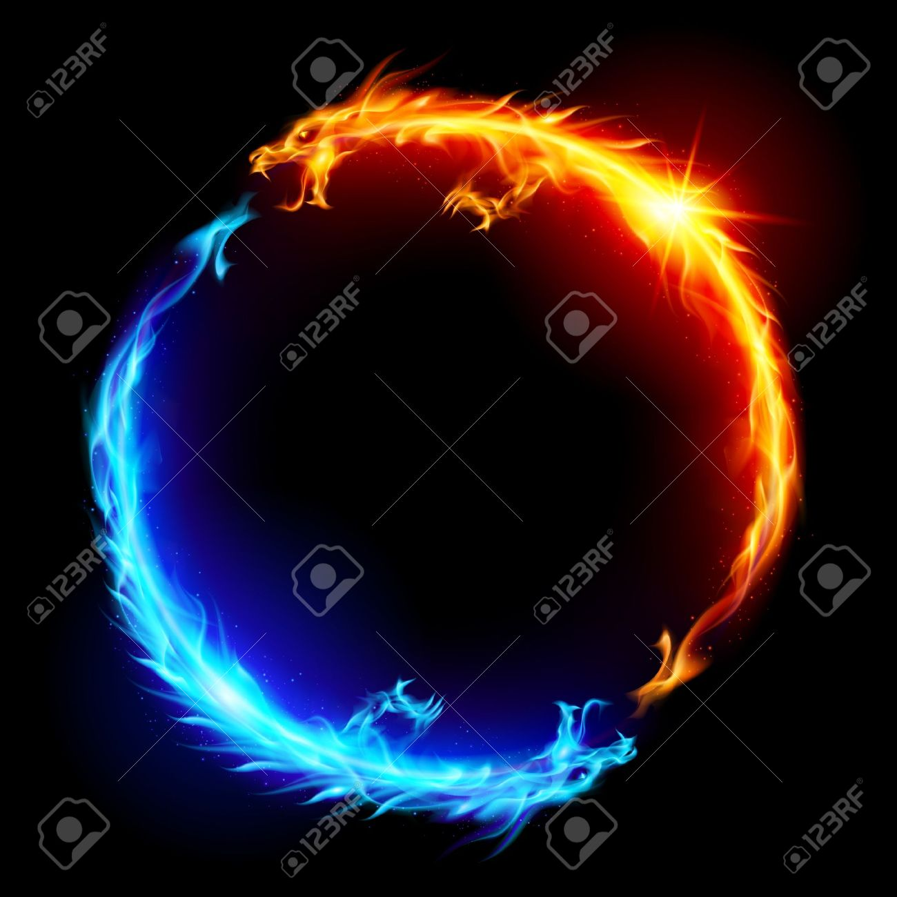 Ring of Blue and Red Fiery Dragons. Stock Vector - 13979508