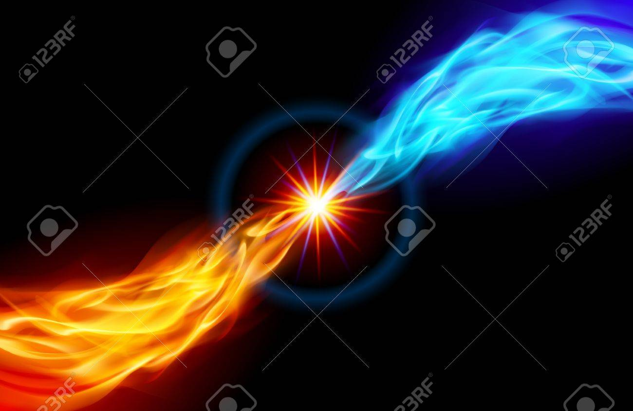 Star with Red and Blue Flame tail for you design on black Stock Vector - 13979505