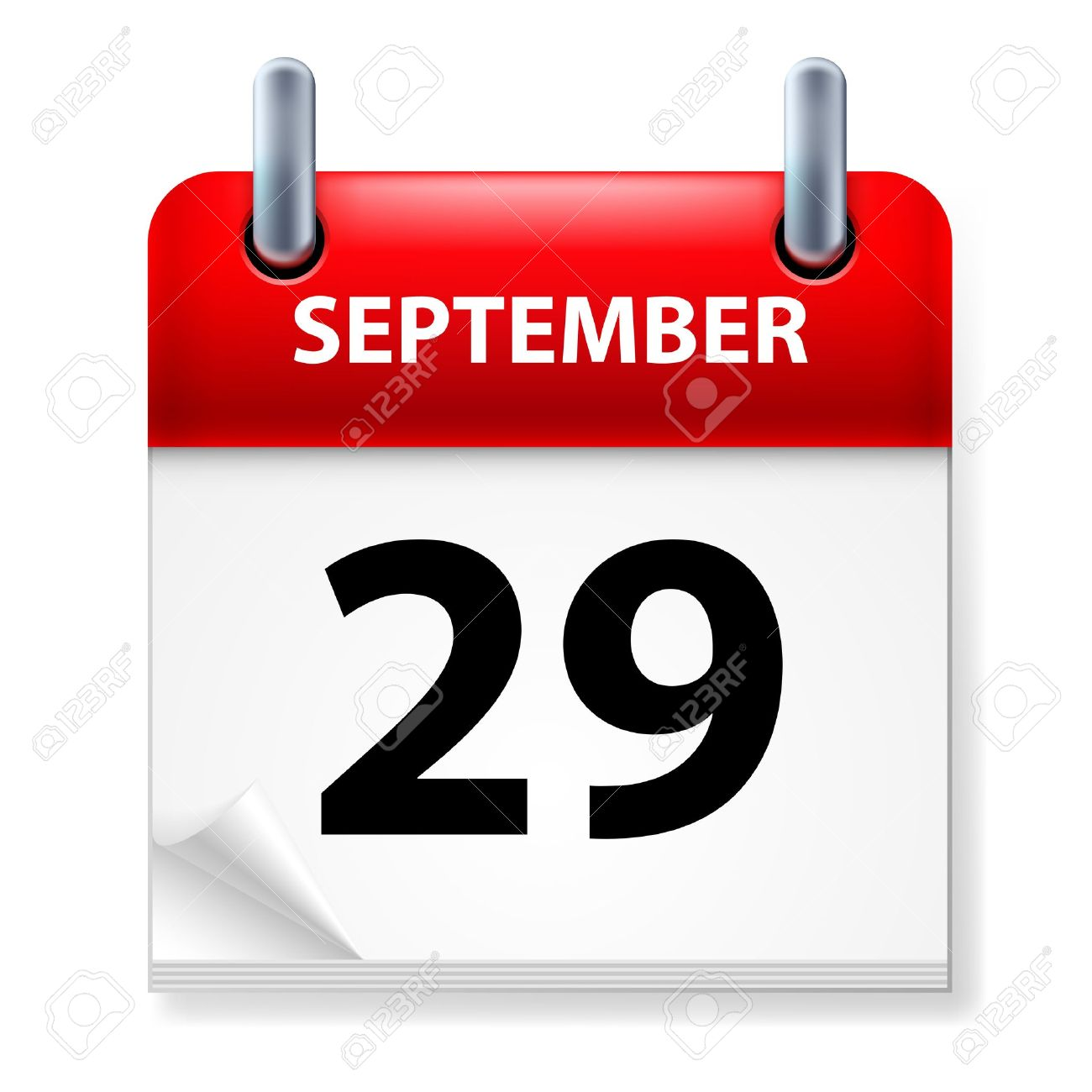 Twenty-ninth September in Calendar icon on white background - 14235482
