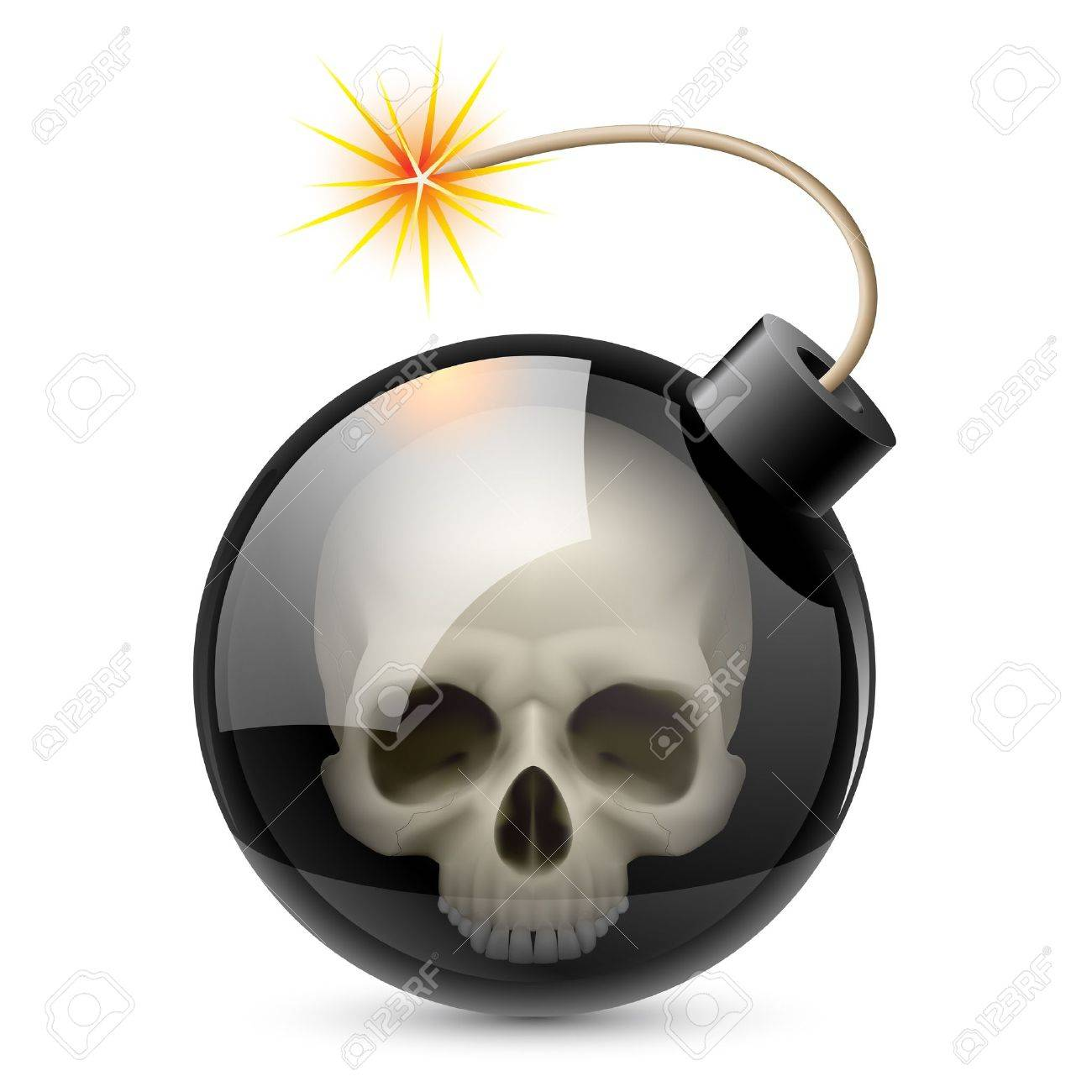 Bomb with Skull. Illustration on white background for design Stock Vector - 14331376