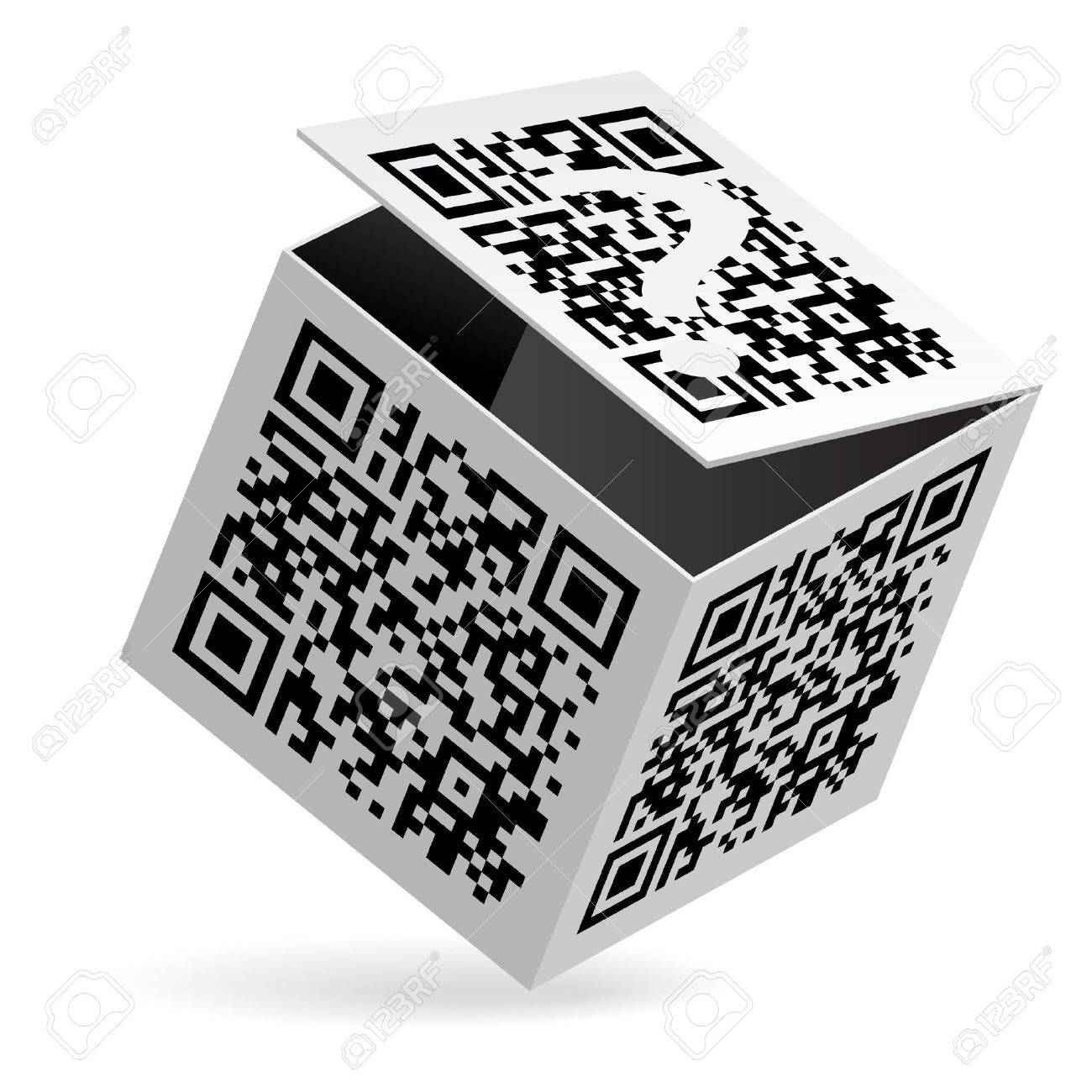 Illustration of QR code on open White Box Stock Vector - 14447641