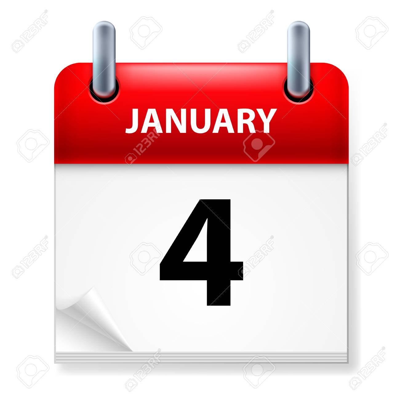 Fourth January in Calendar icon on white background Stock Vector - 14495283