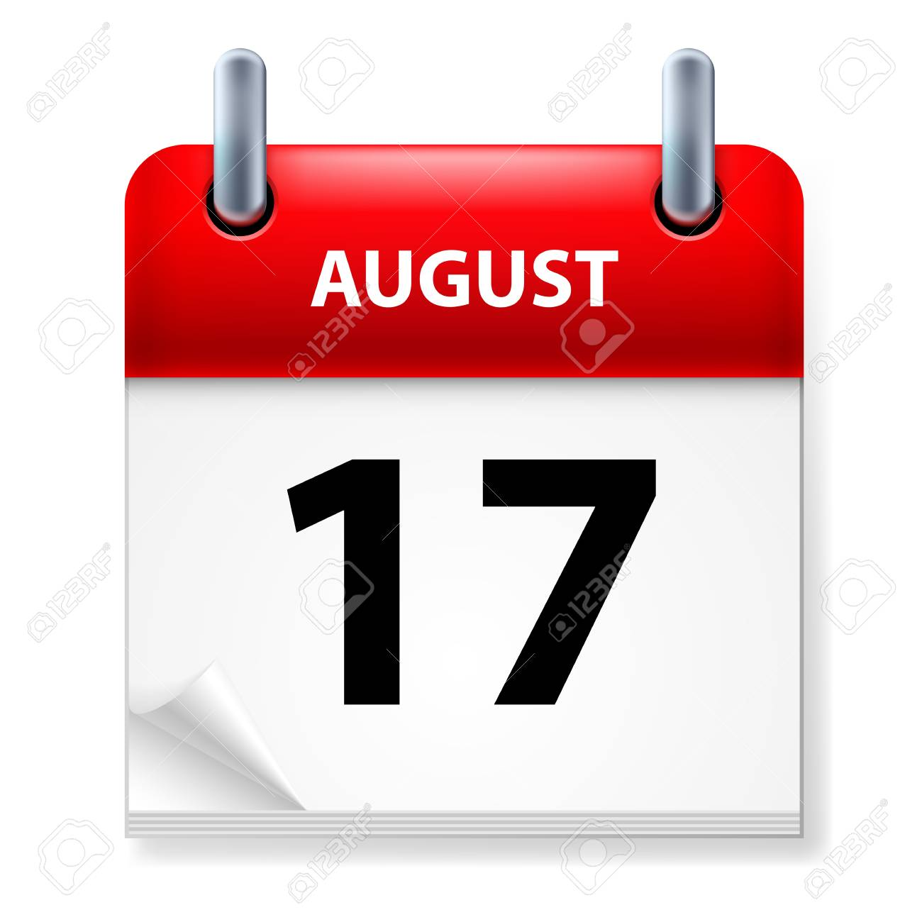Seventeenth in August Calendar icon on white background Stock Vector - 14495528