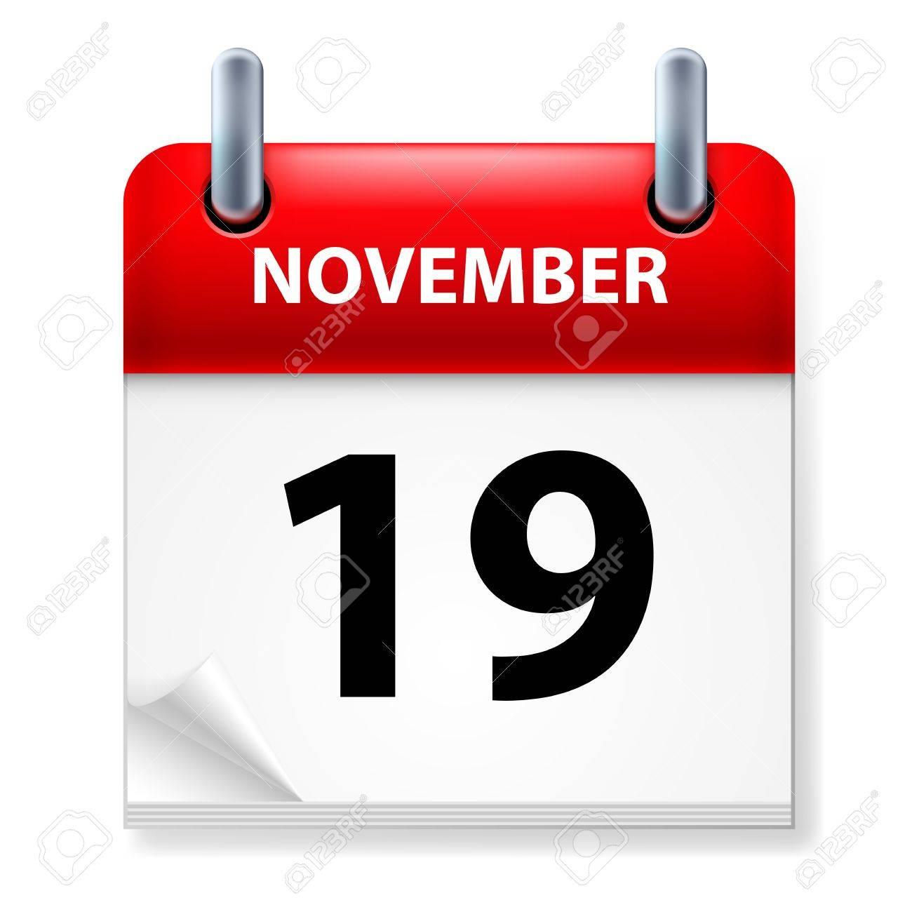 Nineteenth in November Calendar icon on white background Stock Vector - 14496315