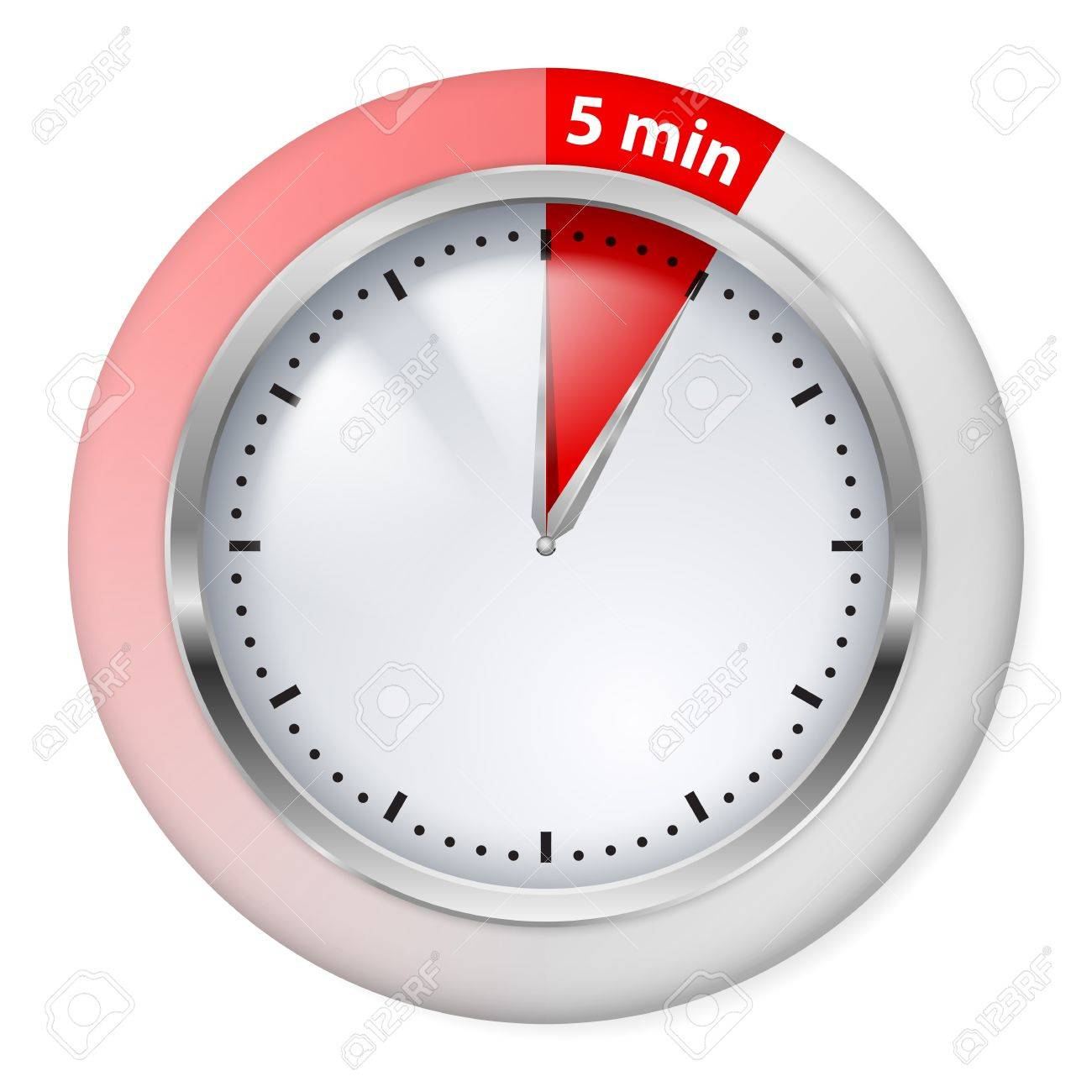 red timer icon five minutes illustration on white royalty free