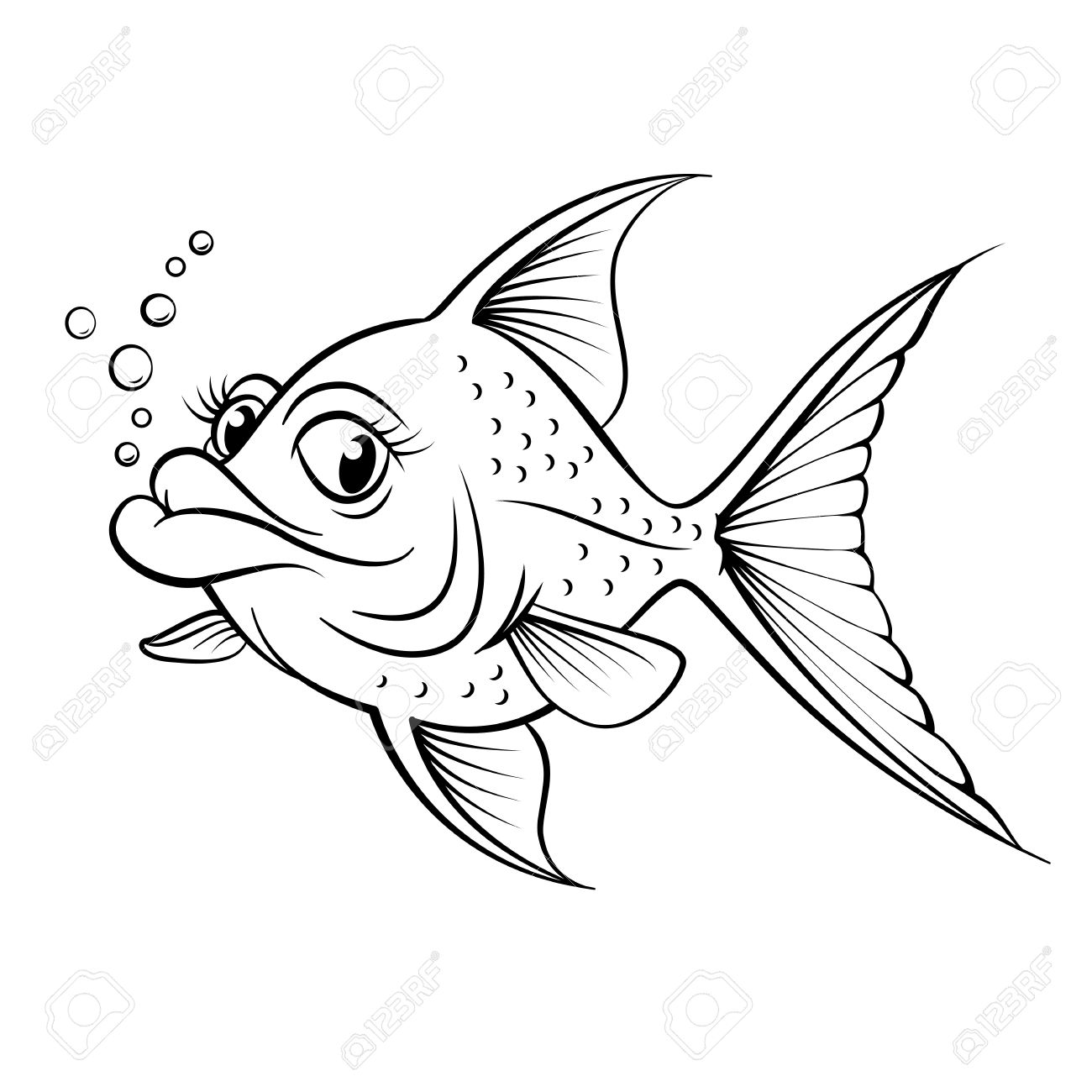 Cartoon drawing fish illustration for design on white background stock vector 14562064