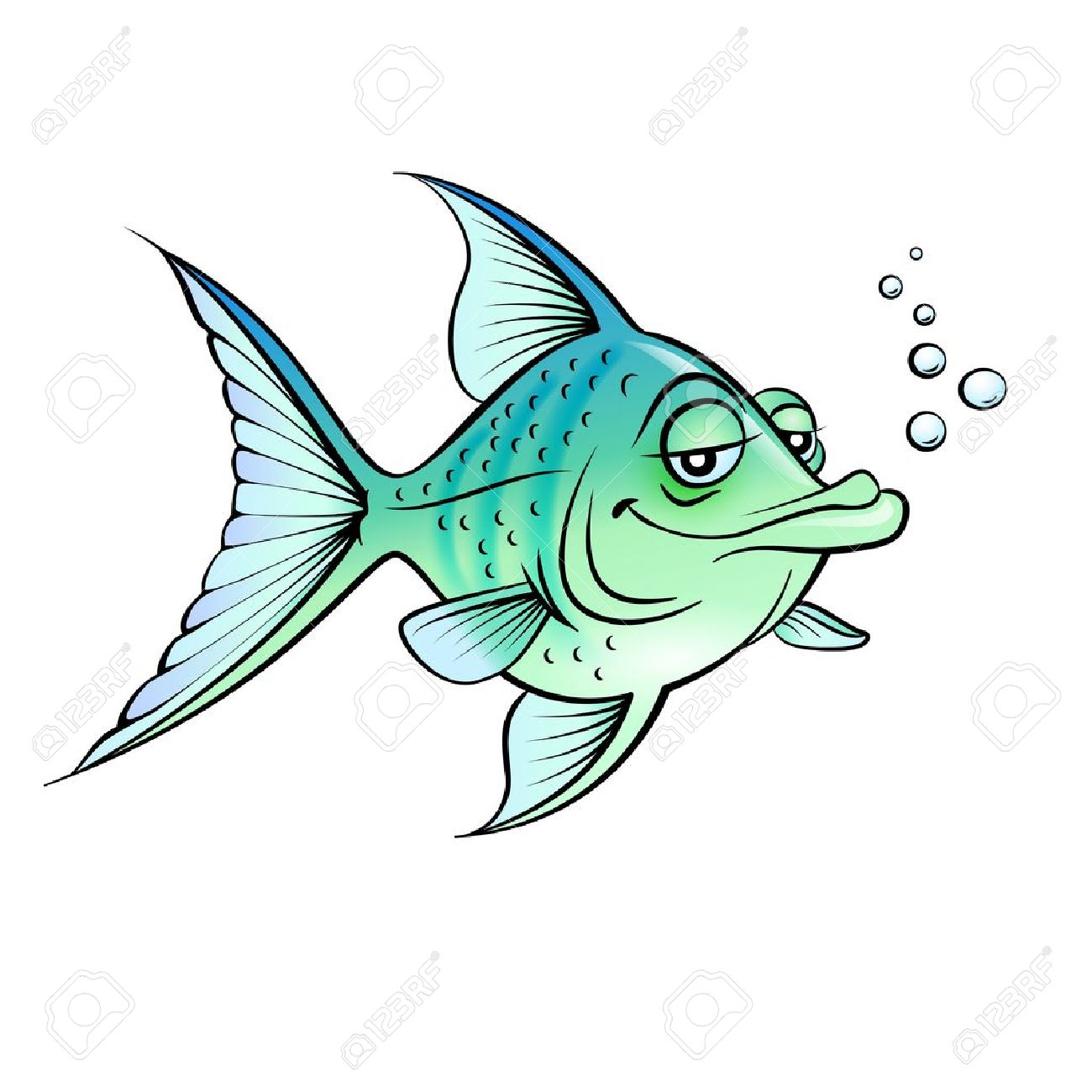 Green cartoon fish.  Illustration for design on white background Stock Vector - 14562065