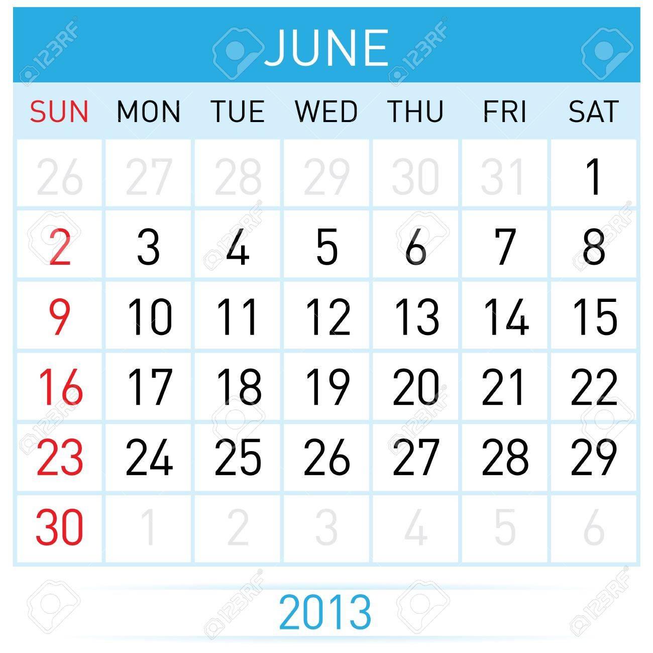 Calendario Mese Giugno.Giugno Twenty Tredici Anni Calendario Mese Illustrazione Su Sfondo Bianco