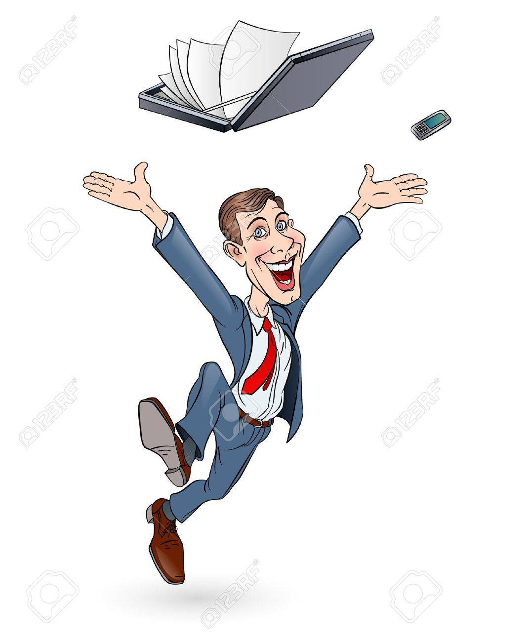Happy businessman jumping. Sketch on white background. In color Stock Vector - 14887157