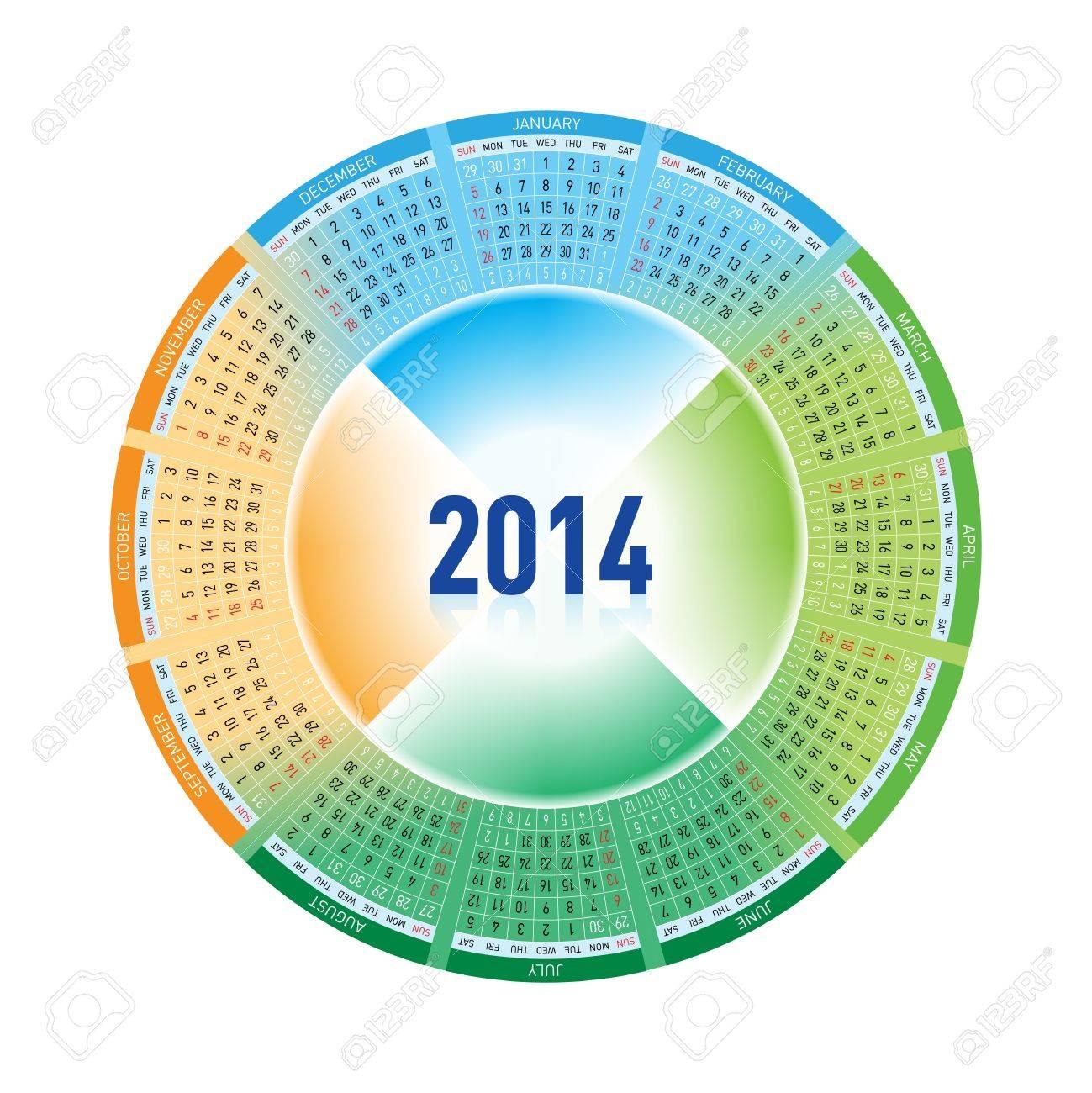 Calendar for Twenty-fourteen. Rotating design on white Stock Vector - 14887156