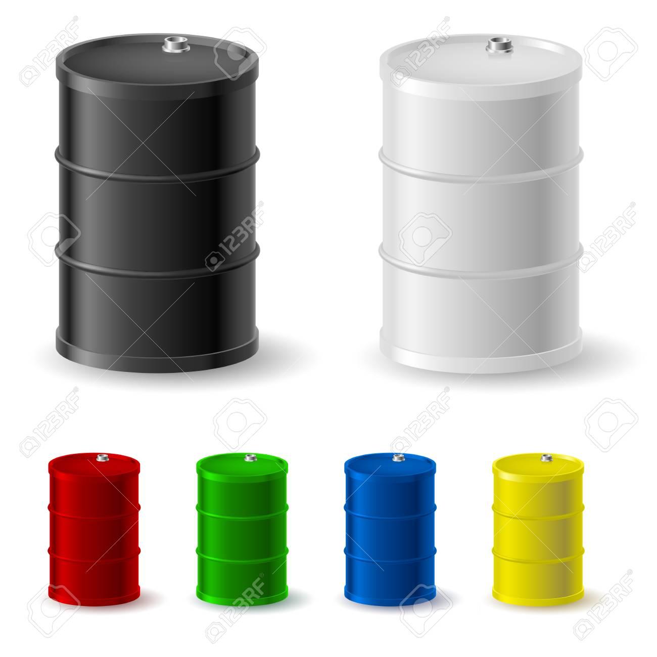 Metal barrels set on white background for design Stock Vector - 15019389