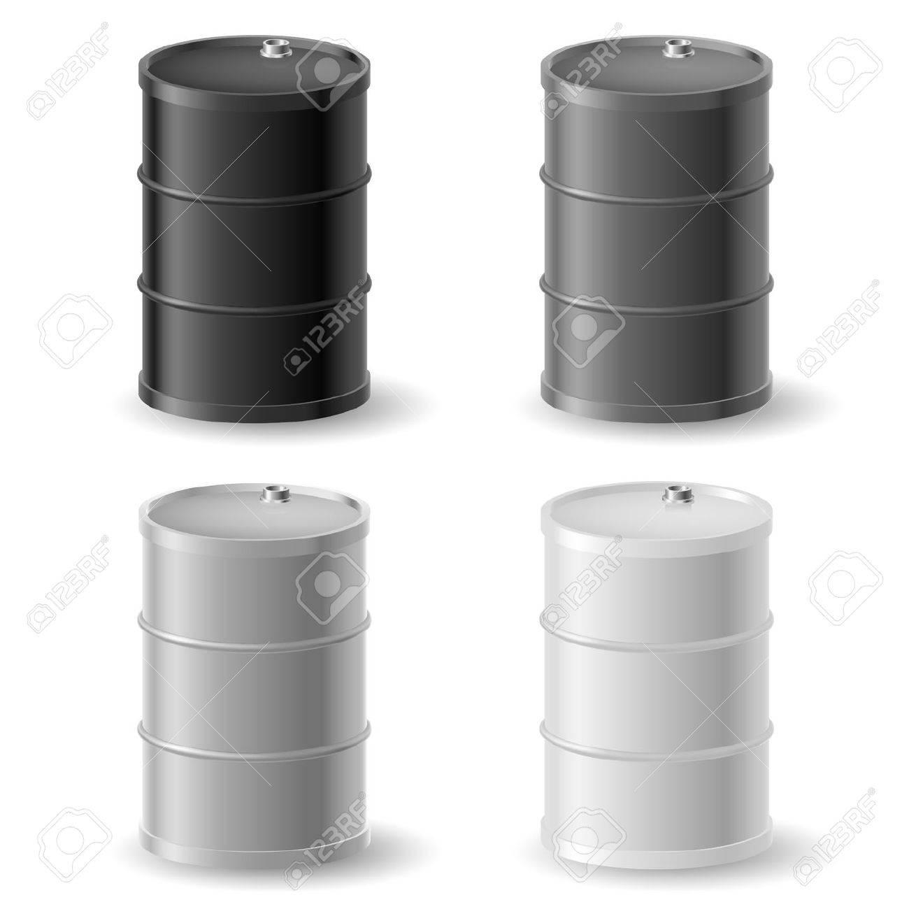 Oil barrels. Gray icons set on white Stock Vector - 15019443