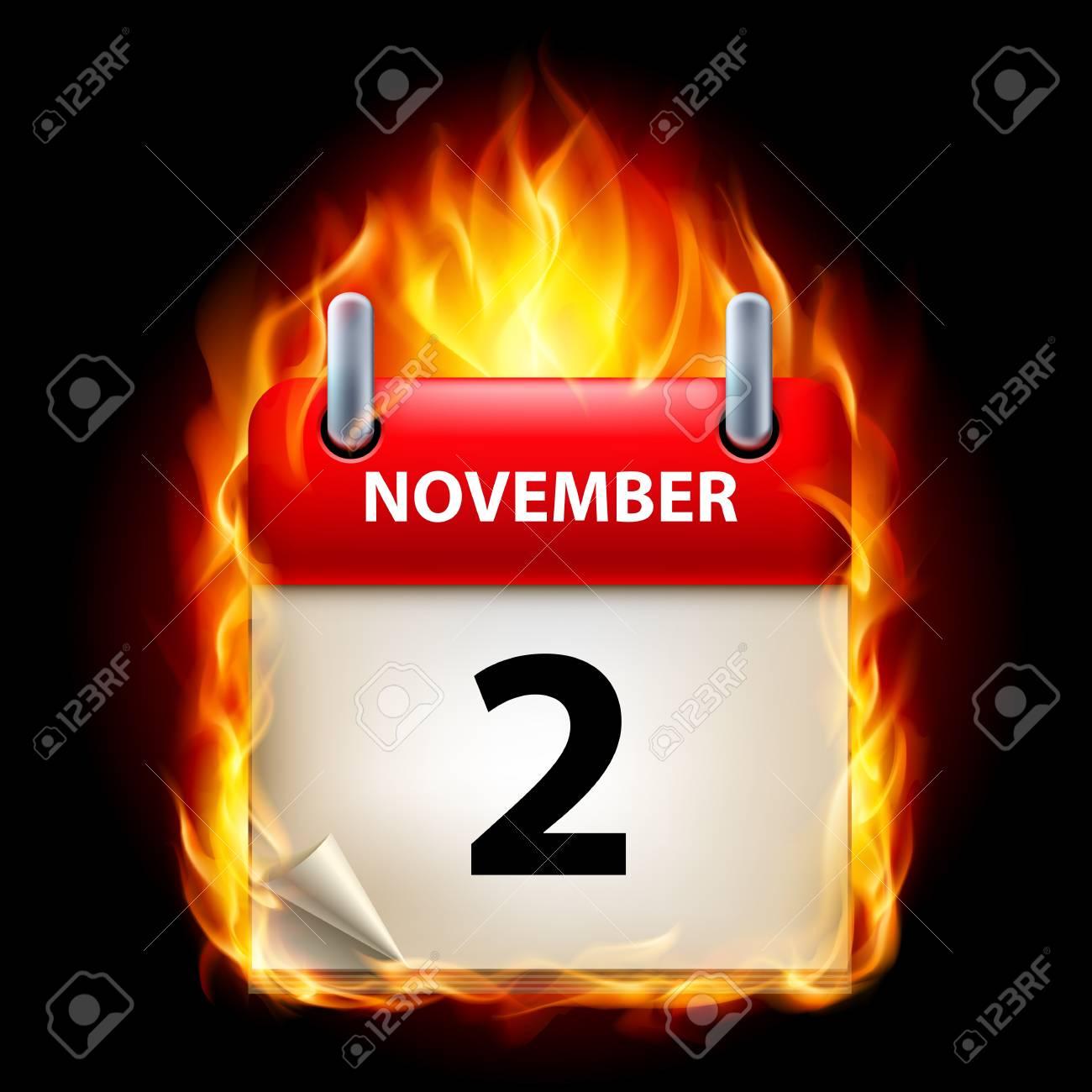 Second November in Calendar. Burning Icon on black background Stock Vector - 15097782