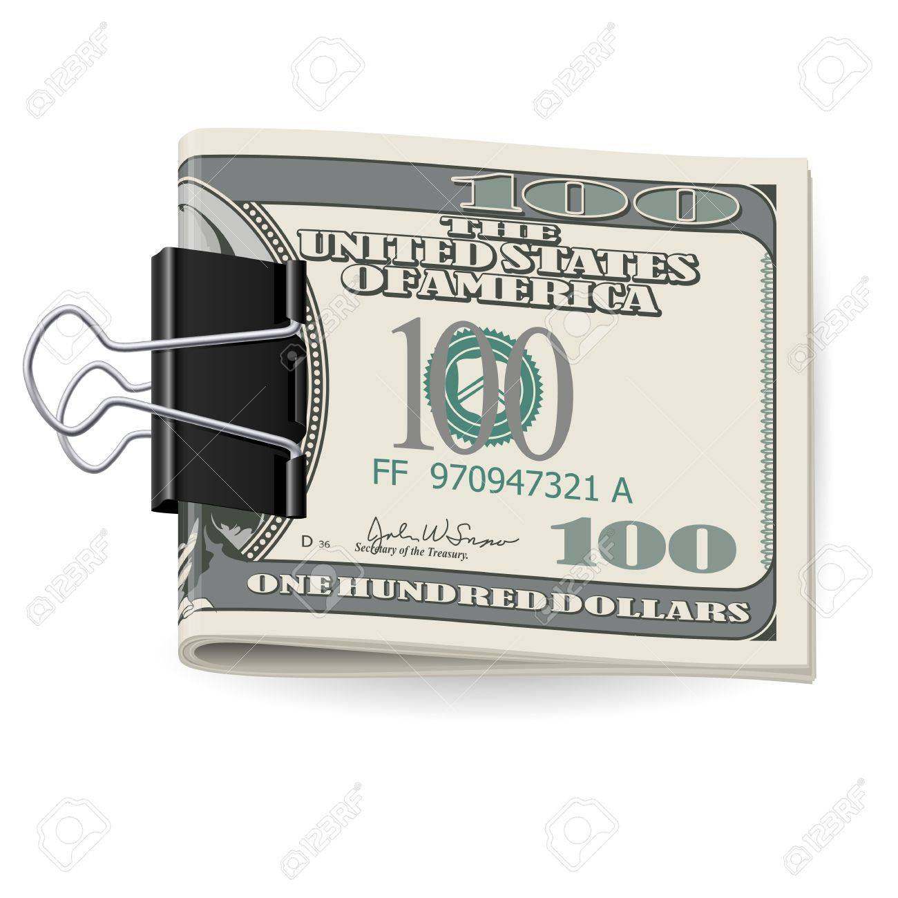 Cash folded in a Binders clip. Illustration on white Stock Vector - 15495157