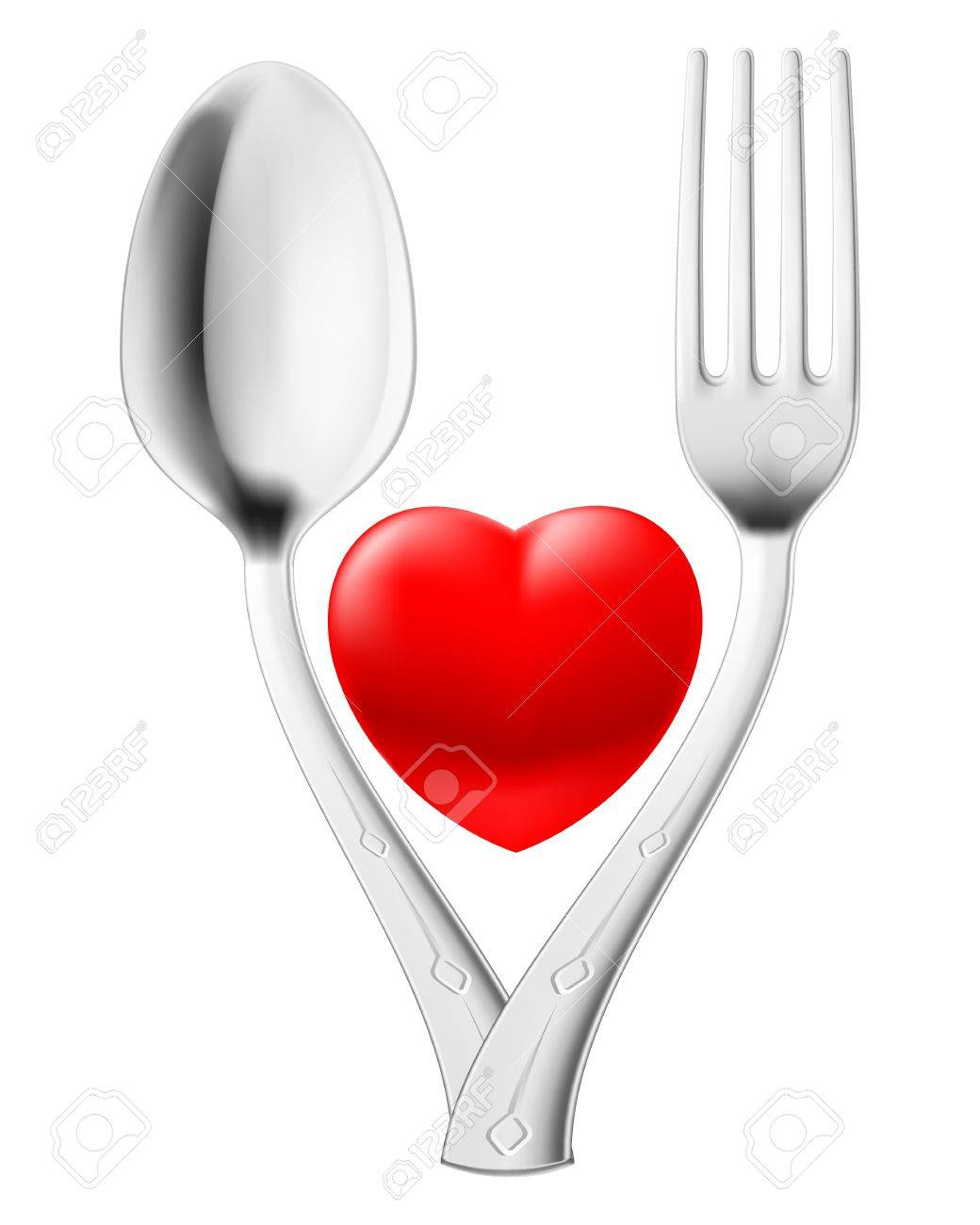 Spoon and fork couple red heart  Illustration on white