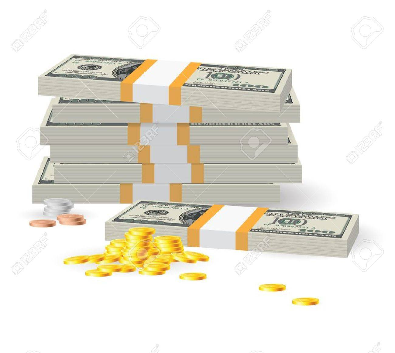 Pile of coins on dollar banknotes. Illustration on white Stock Vector - 15495227