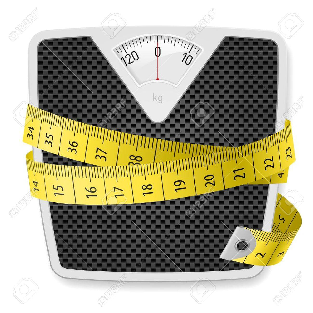 Weights and tape measure. Illustration on white background - 15232318