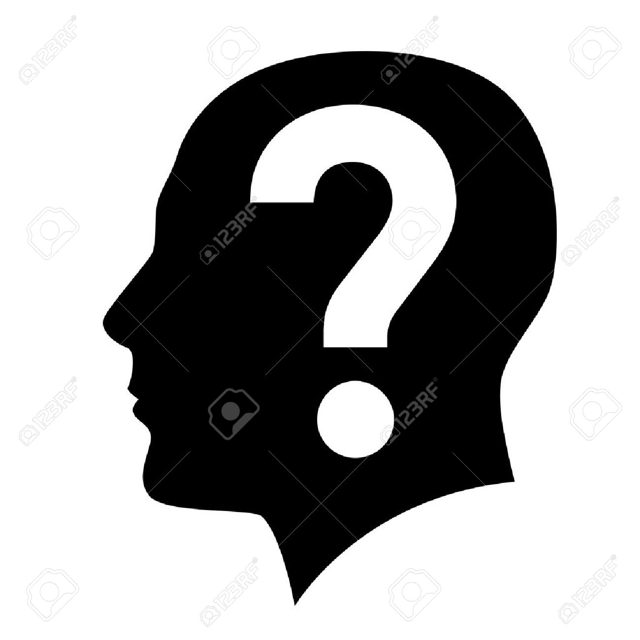 Pics photos clip art cartoon scientist with question mark stock - Human Head With Question Mark Symbol On White Stock Vector 15312895