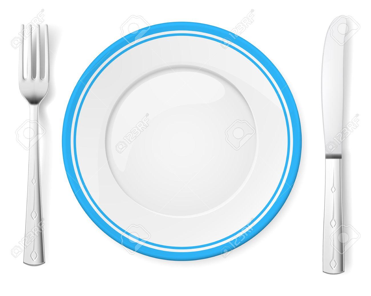 Dinner plate, knife and fork. Illustration on white background Stock Vector - 15406199