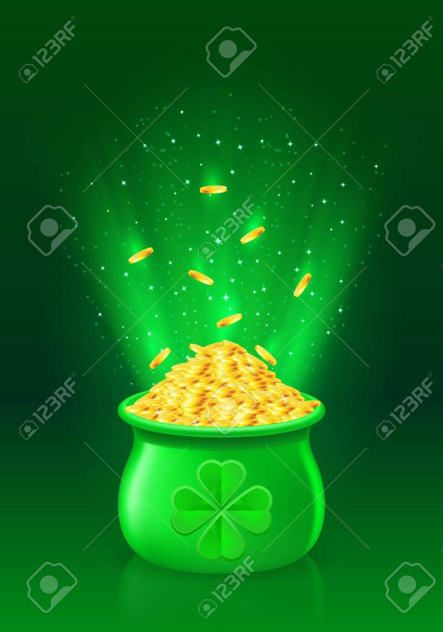 Illustration of pot with full of gold coins Stock Vector - 15639722