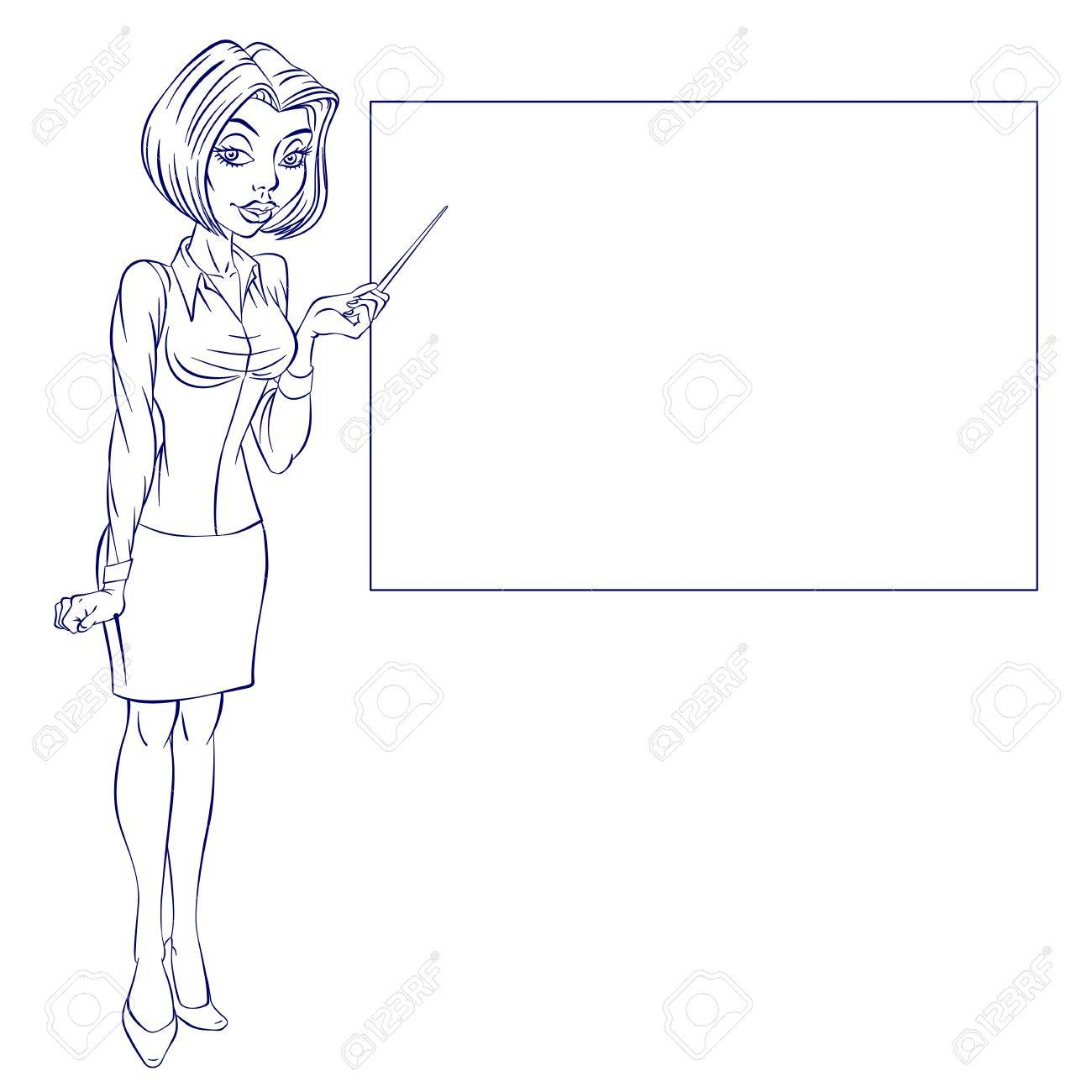 Cartoon of a cute business woman pointing to rising business trends - 16954628