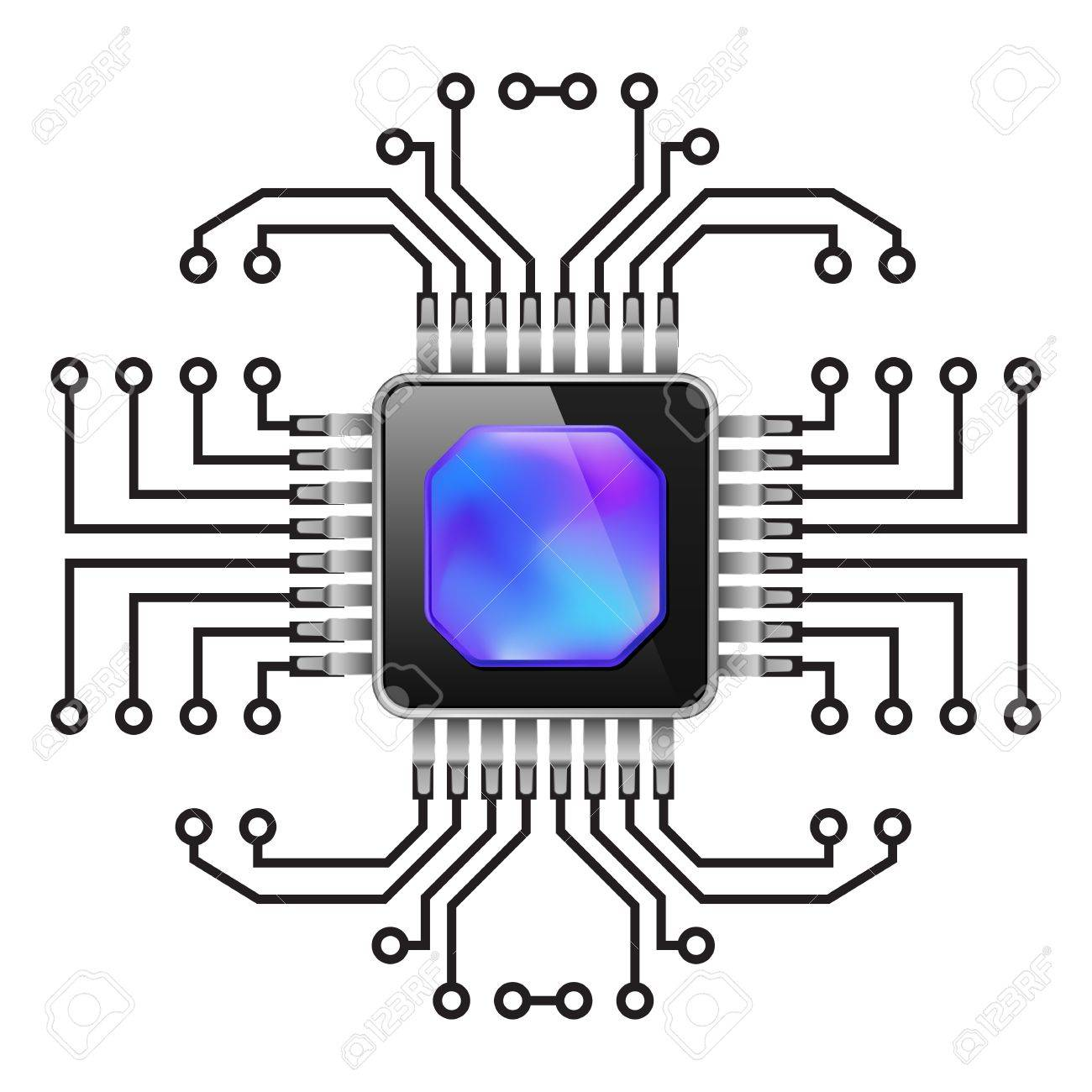 Printed Circuit Board. CPU. Illustration On White Royalty Free ...