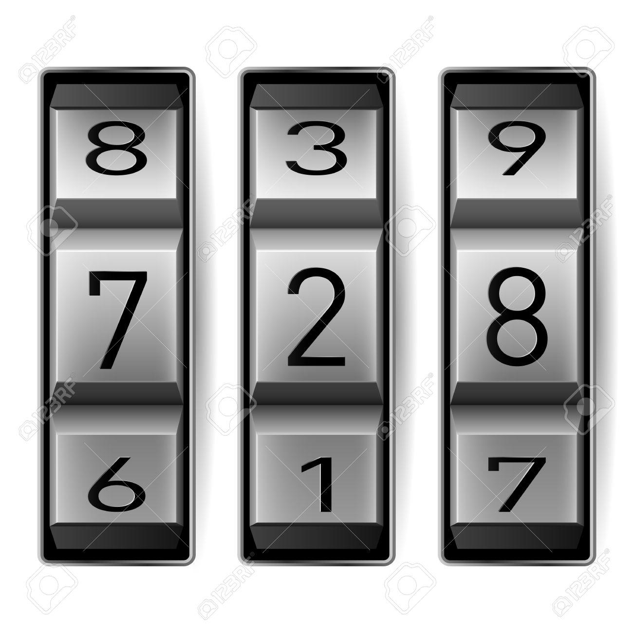 metallic combination lock with three number vector illustration