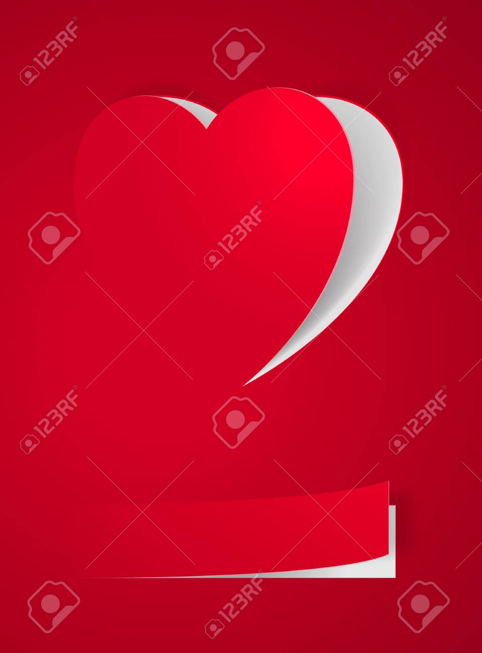 Red Heart Card. Illustration on red for design Stock Vector - 16954666