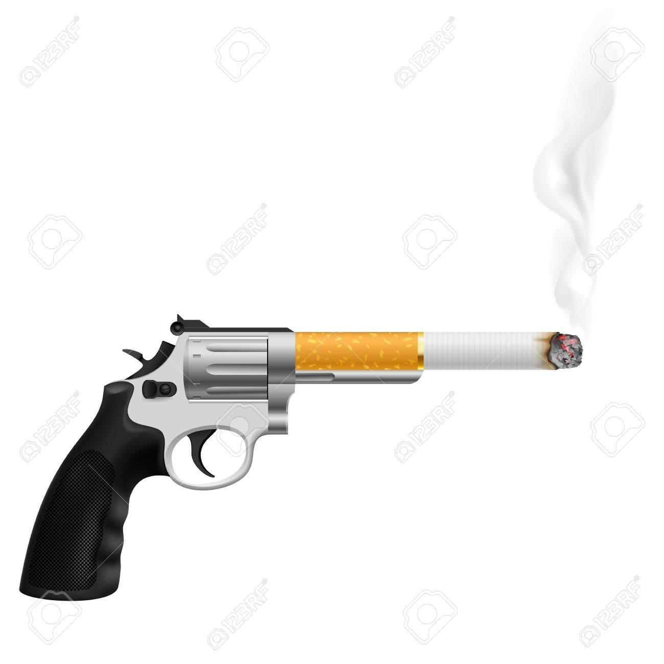 Revolver with a cigarette. Illustration on white Stock Vector - 16954688