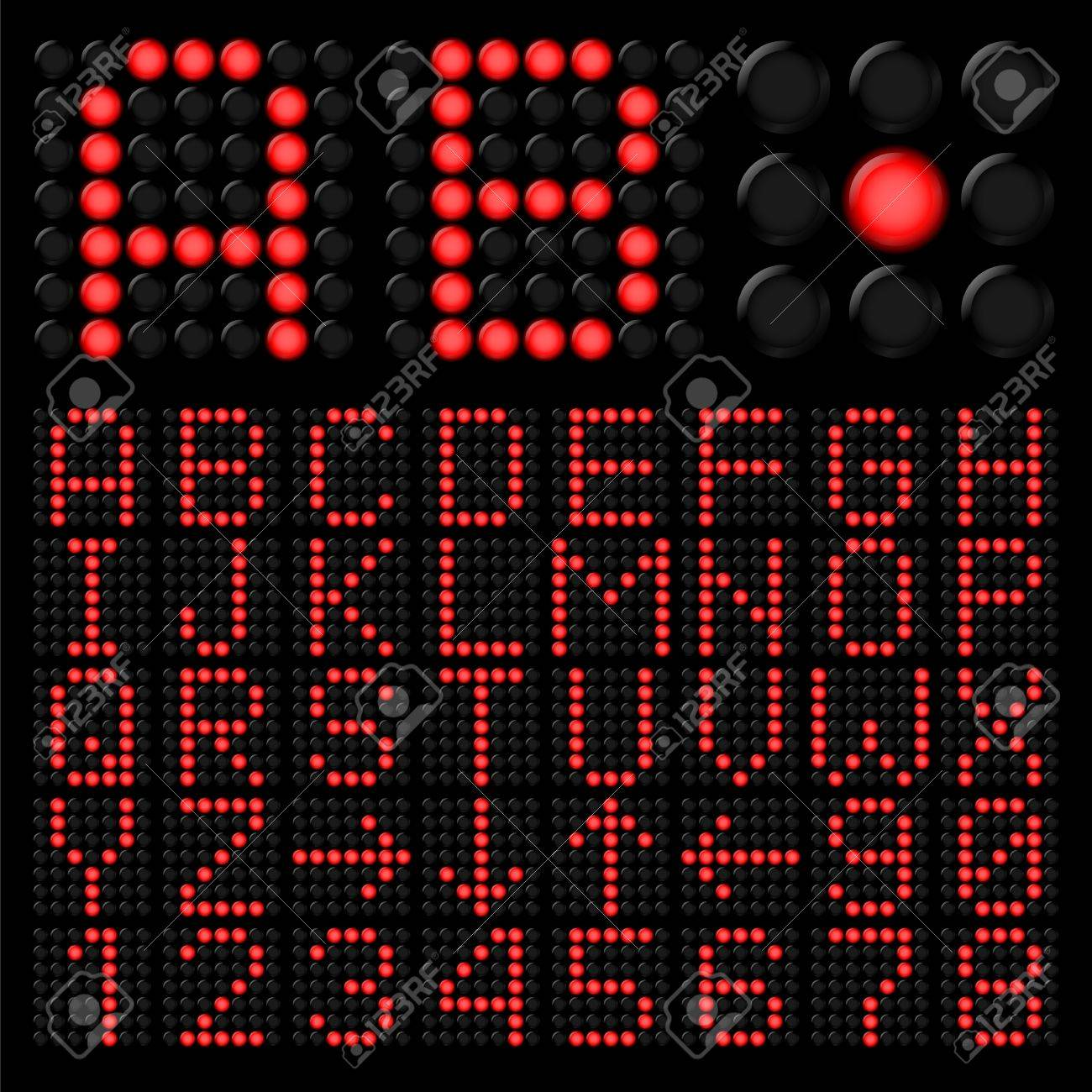 Red digital alphabetic and numeric characters on black Stock Vector - 16976785