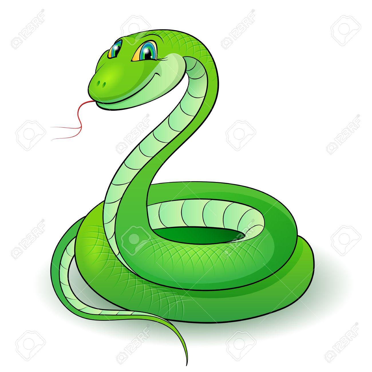 Dessin Animé Serpent illustration de dessin animé d'un serpent de verdure agréable. clip