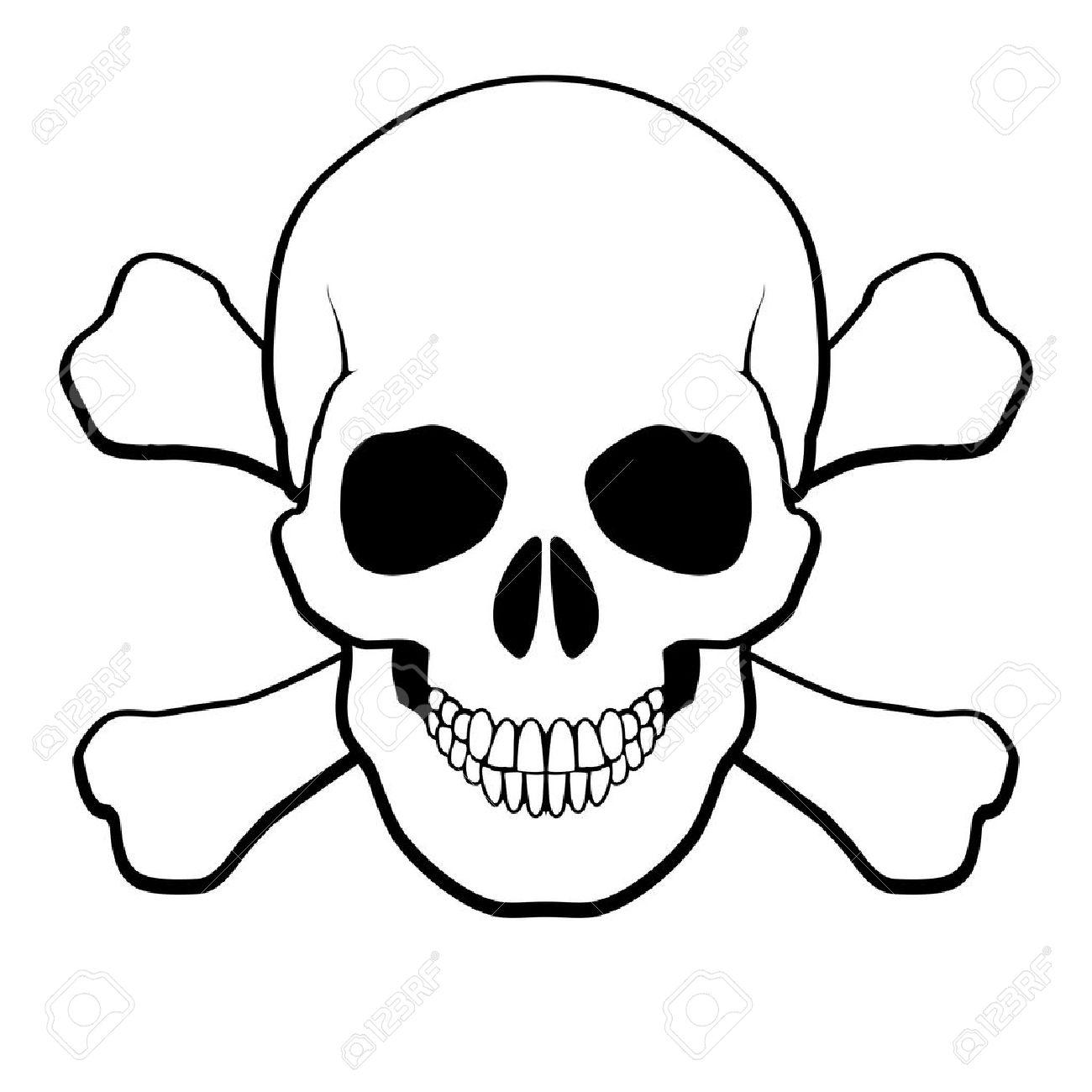 Pirata Calavera Y Tibias Cruzadas Ilustración Sobre Fondo Blanco