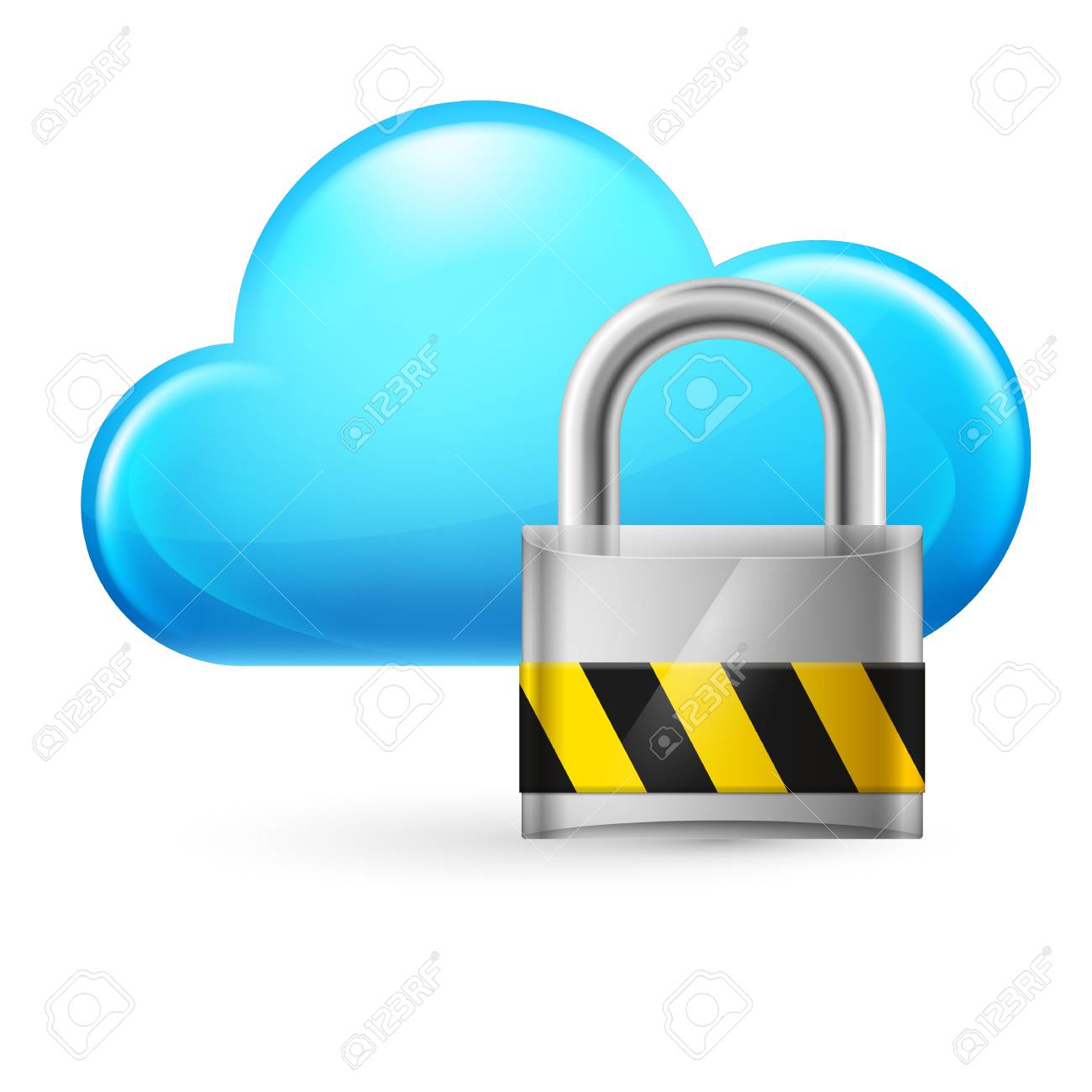 Cloud computing and padlock. Illustration on white Stock Vector - 16976848