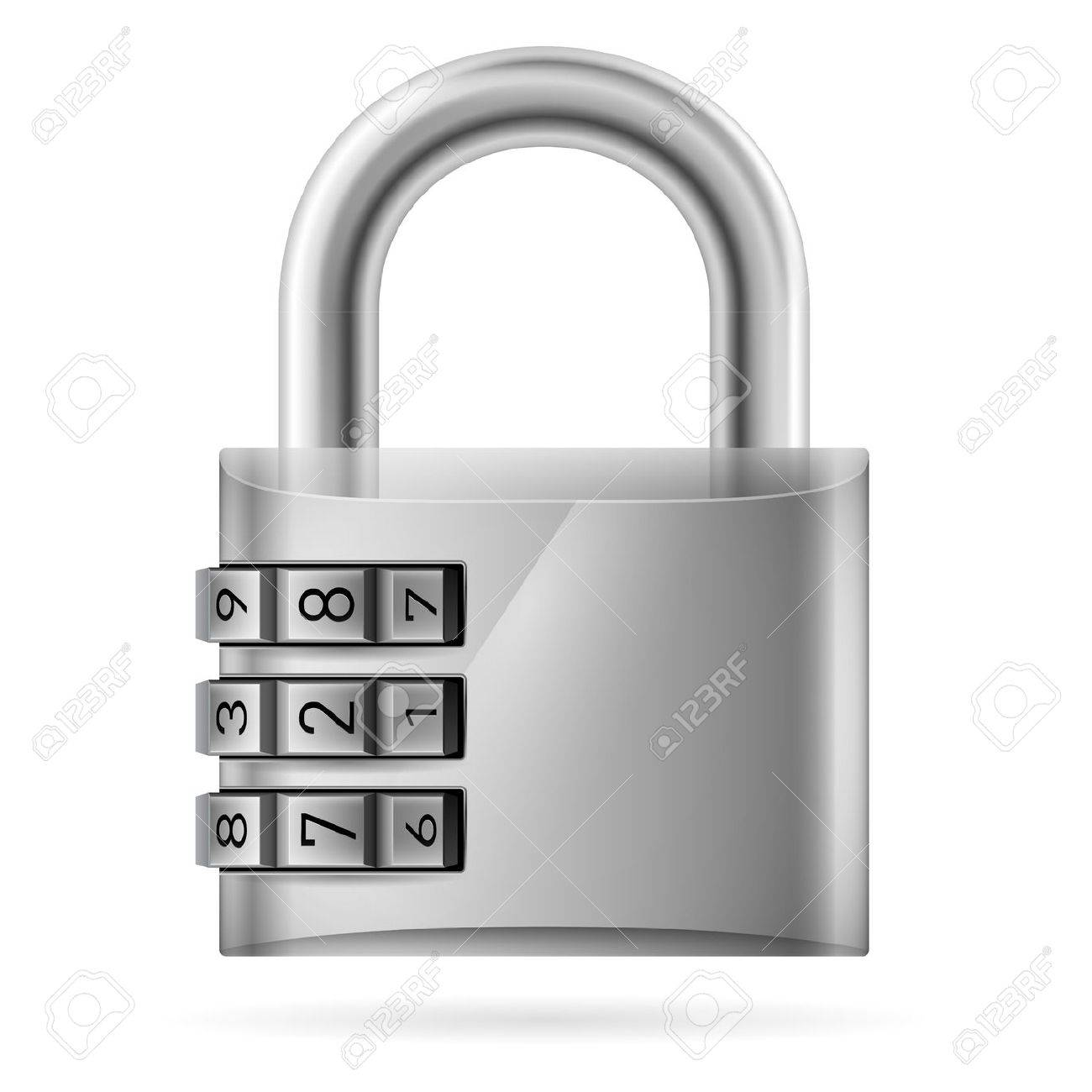 996559579764 Security concept with locked combination pad lock. Illustration..