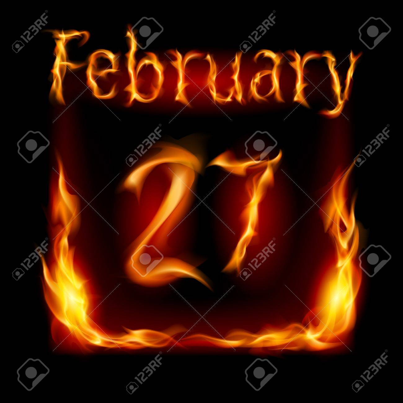 Twenty-seventh February in Calendar of Fire. Icon on black background Stock Vector - 17012467