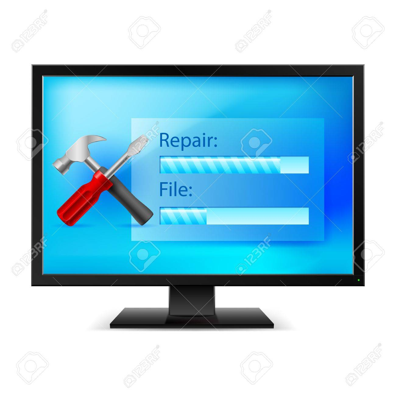 Monitor with Tools. Illustration on white background Stock Vector - 17473302