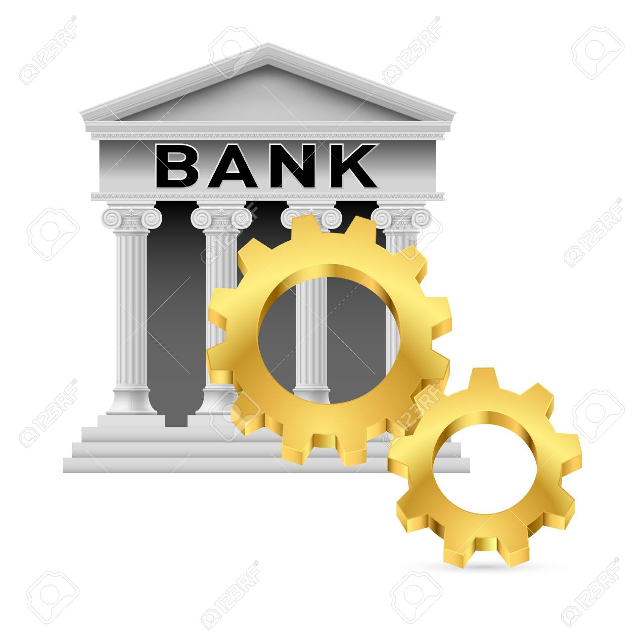 Concept with Gear Wheel and Bank. Illustration on white Stock Vector - 17621001