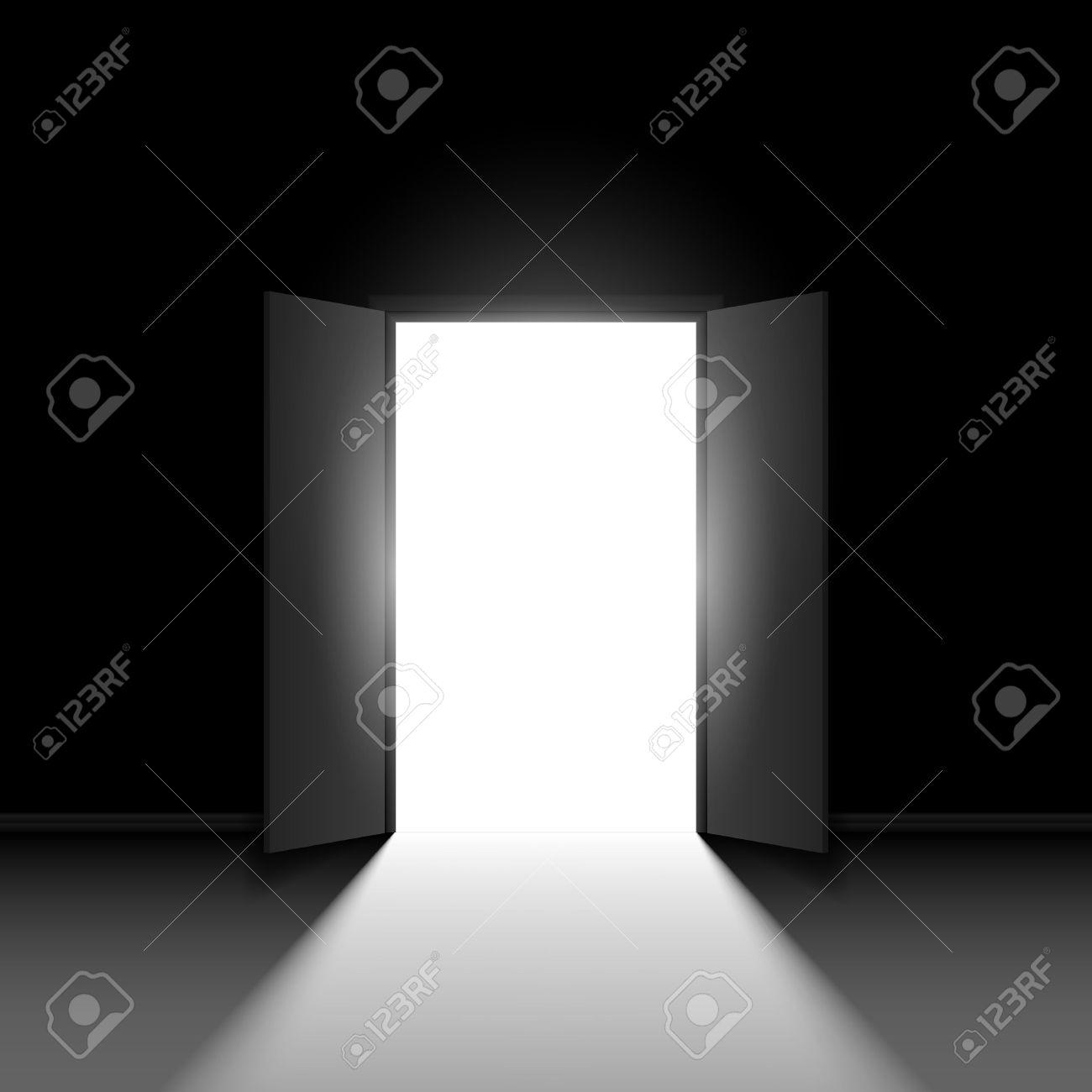 Double door clipart - Double Door Double Open Door Illustration On Black Background
