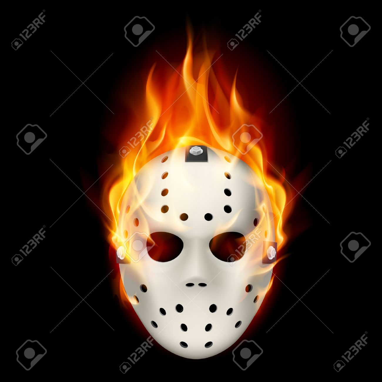 Burning hockey mask. Illustration on black  background for design. Stock Vector - 20332583