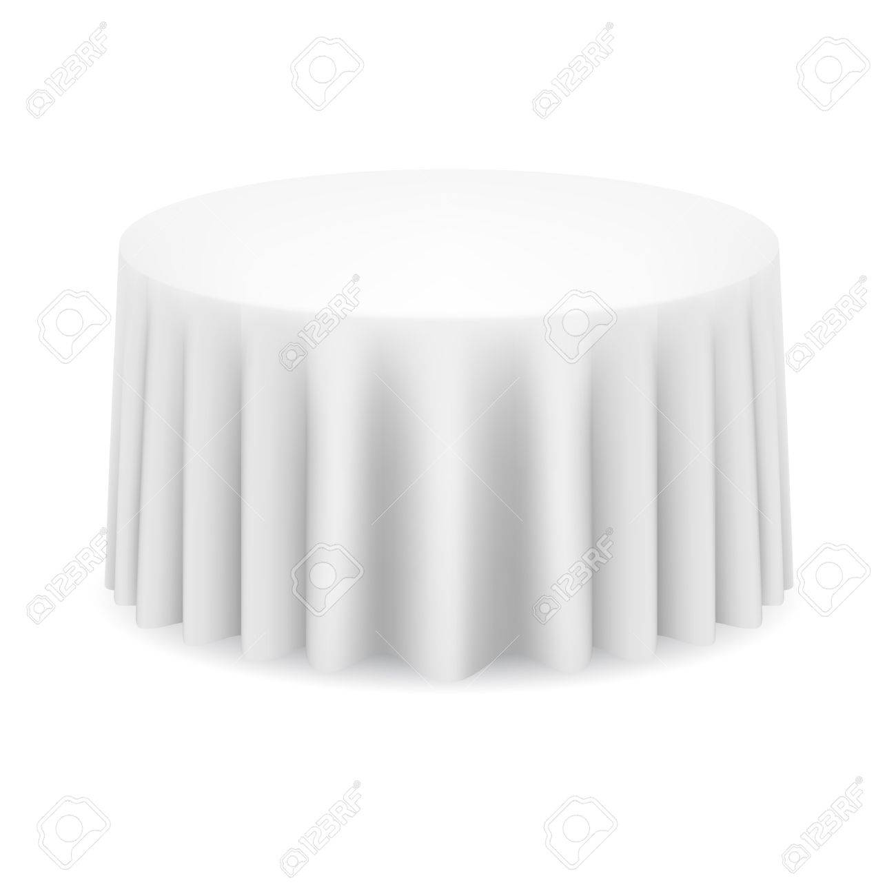 Vector   White Round Table With Tablecloth. Illustration On White