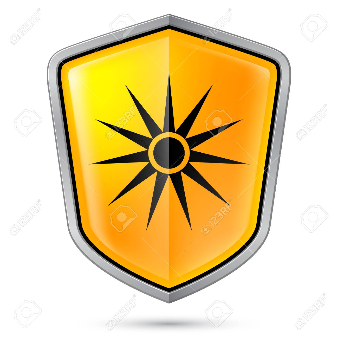 Warning sign on shield, indicating Warning of laser. Illustration on white Stock Vector - 21072138